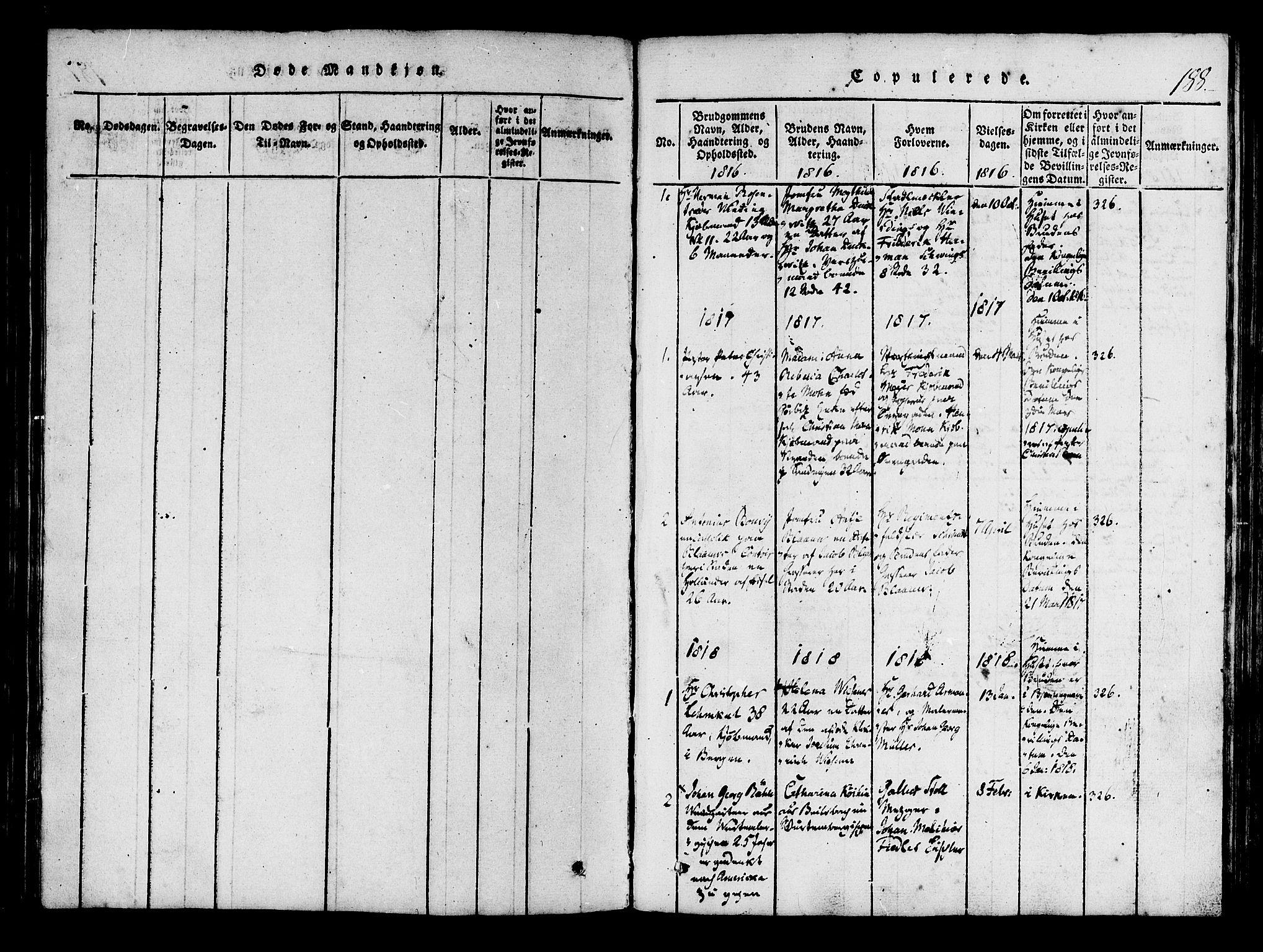 SAB, Mariakirken Sokneprestembete, H/Haa/L0005: Ministerialbok nr. A 5, 1815-1845, s. 188