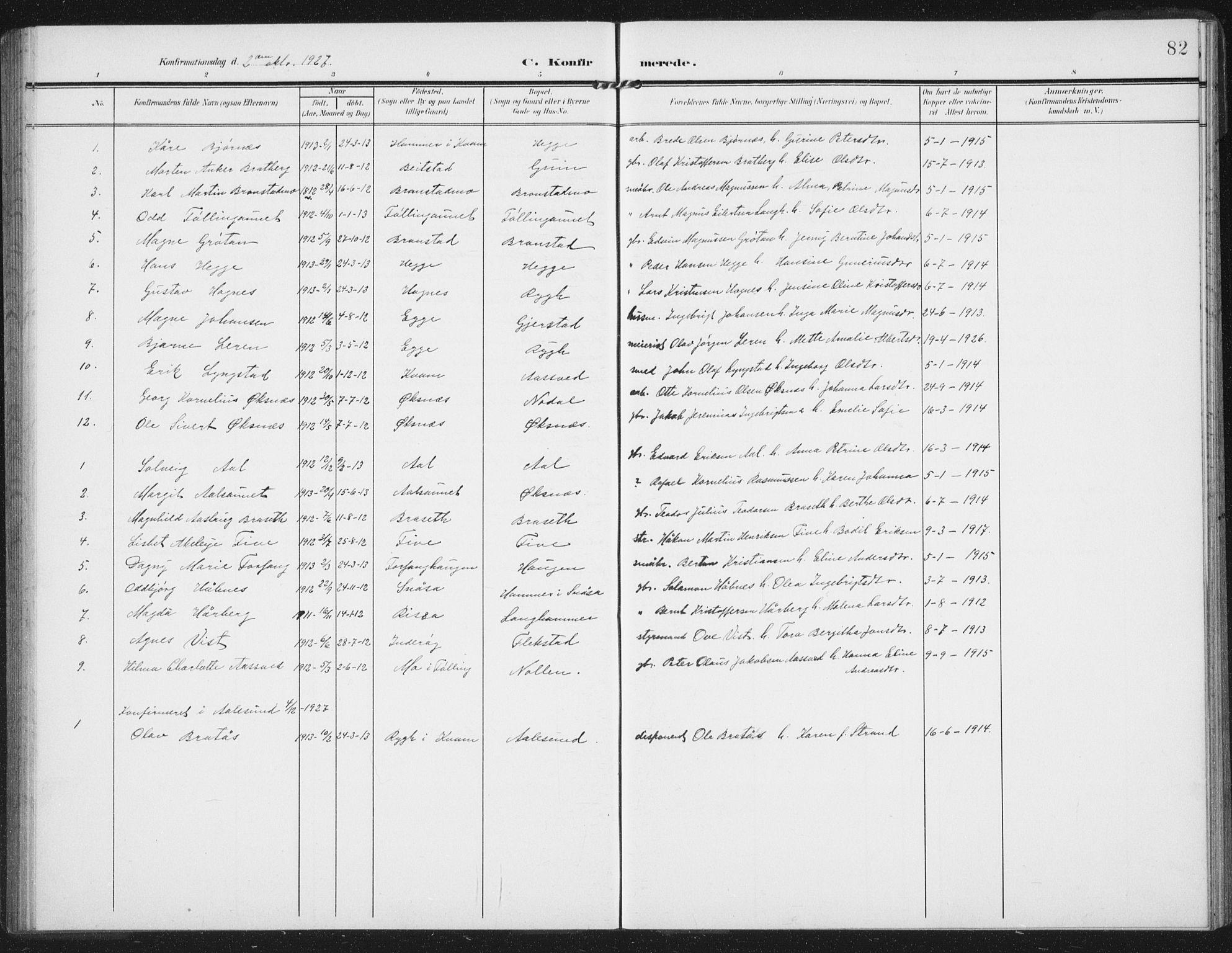 SAT, Ministerialprotokoller, klokkerbøker og fødselsregistre - Nord-Trøndelag, 747/L0460: Klokkerbok nr. 747C02, 1908-1939, s. 82