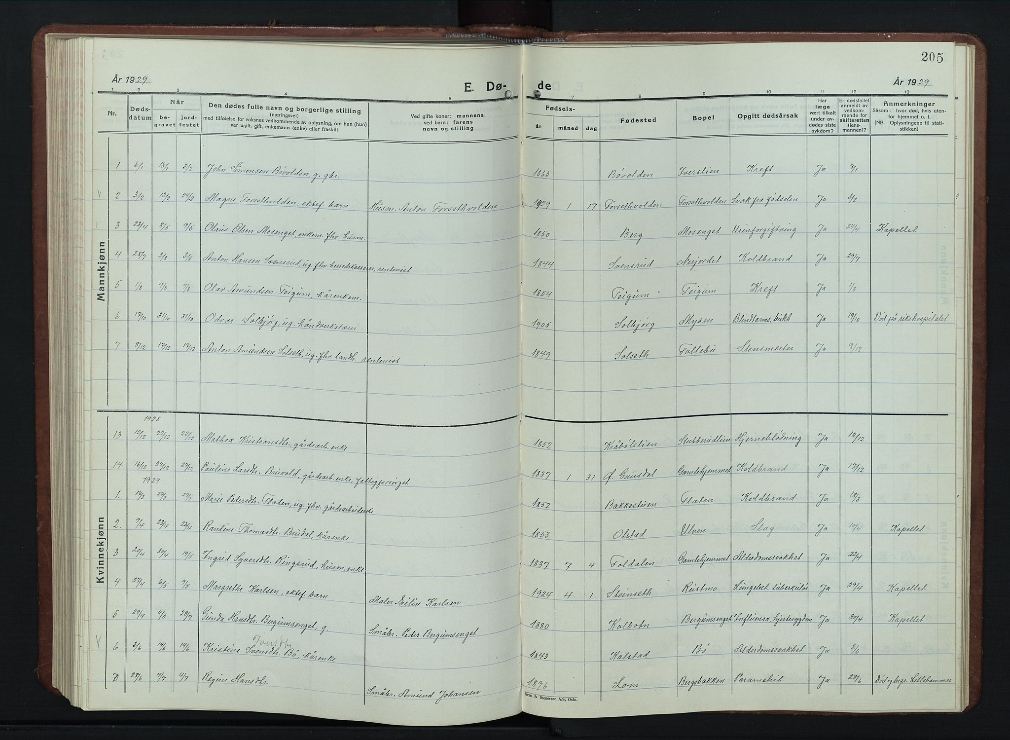 SAH, Vestre Gausdal prestekontor, Klokkerbok nr. 5, 1926-1955, s. 205