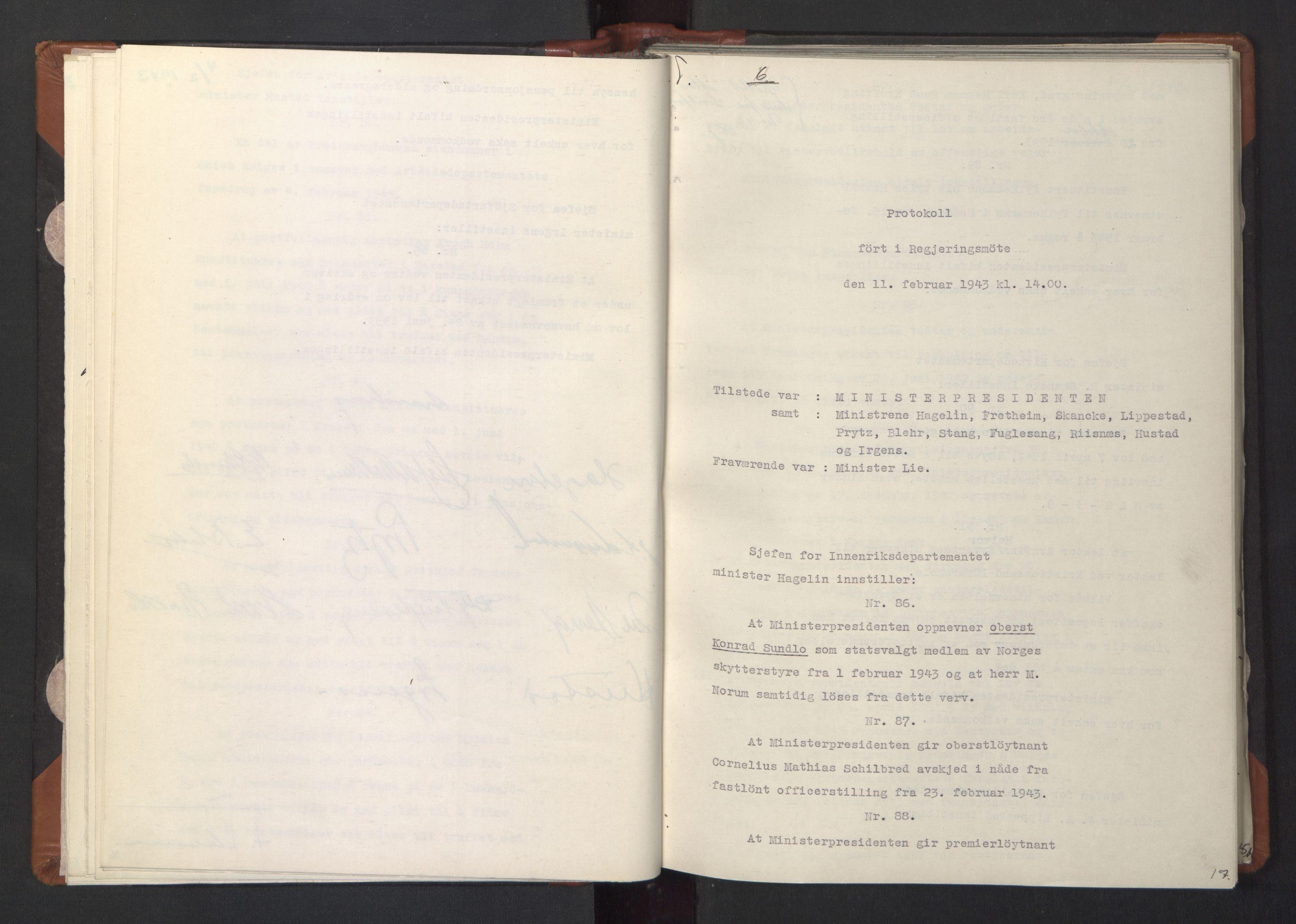 RA, NS-administrasjonen 1940-1945 (Statsrådsekretariatet, de kommisariske statsråder mm), D/Da/L0003: Vedtak (Beslutninger) nr. 1-746 og tillegg nr. 1-47 (RA. j.nr. 1394/1944, tilgangsnr. 8/1944, 1943, s. 16b-17a
