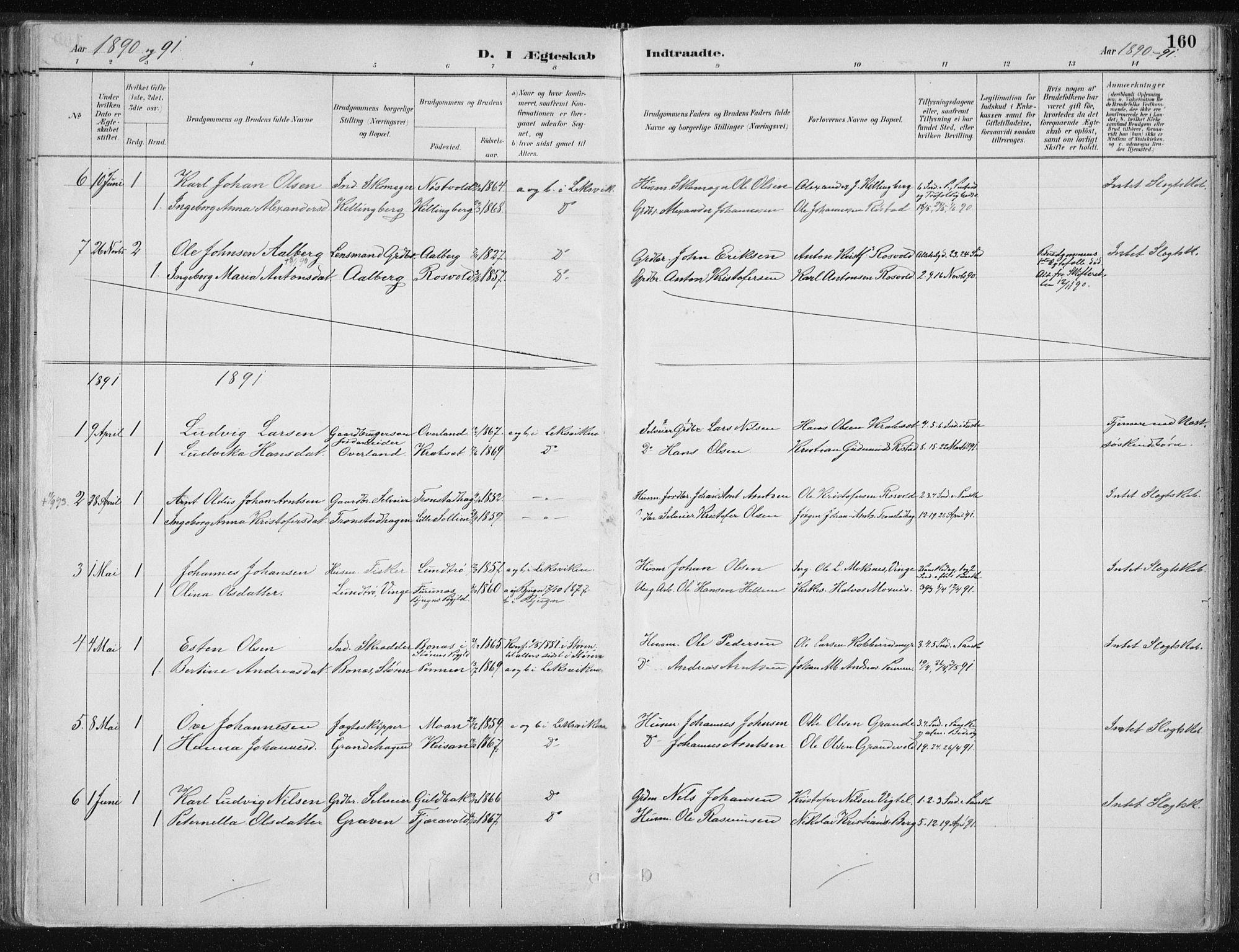 SAT, Ministerialprotokoller, klokkerbøker og fødselsregistre - Nord-Trøndelag, 701/L0010: Ministerialbok nr. 701A10, 1883-1899, s. 160