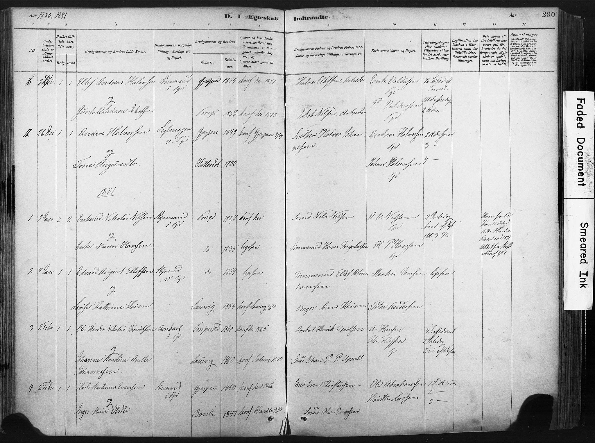 SAKO, Porsgrunn kirkebøker , F/Fa/L0008: Ministerialbok nr. 8, 1878-1895, s. 290