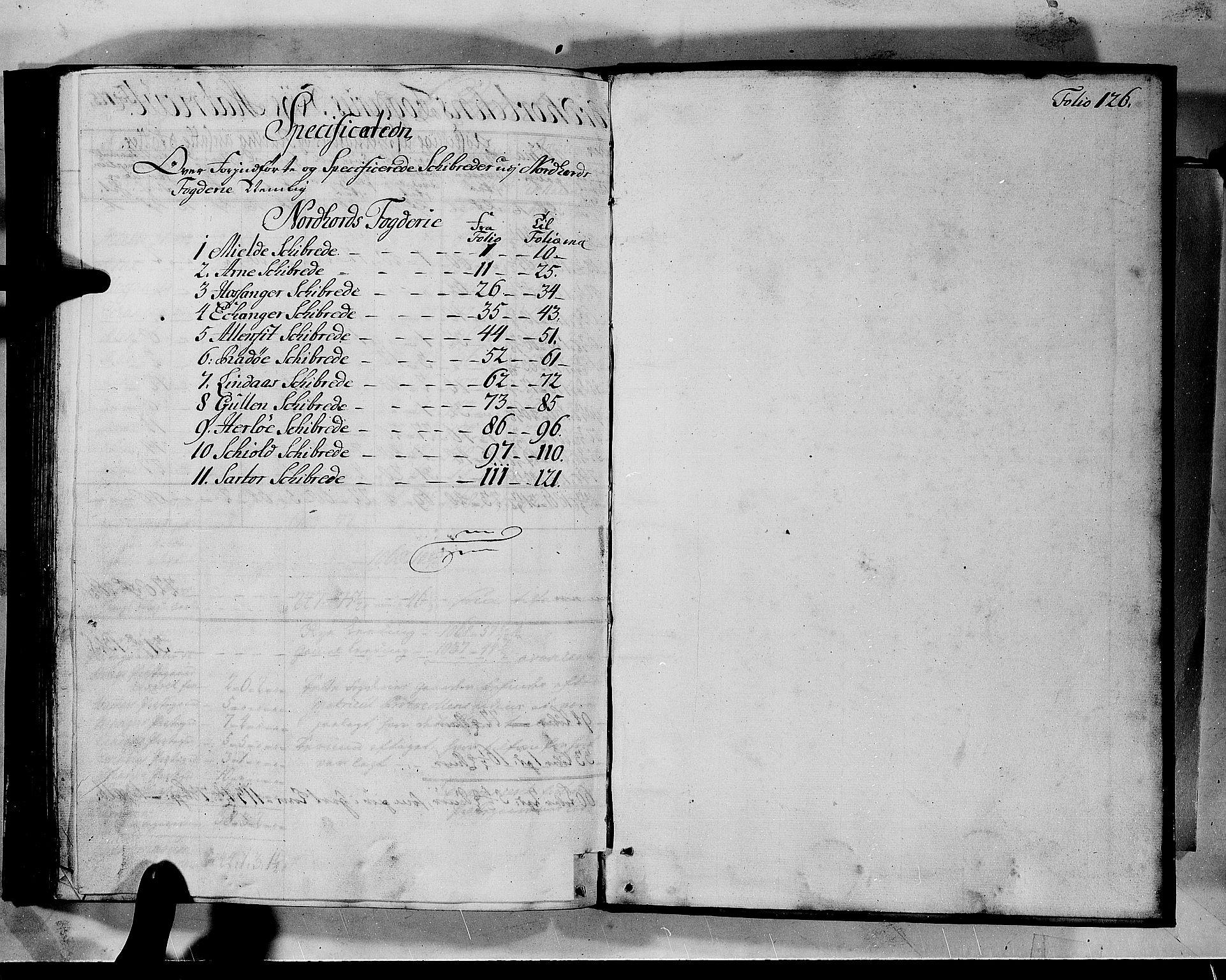 RA, Rentekammeret inntil 1814, Realistisk ordnet avdeling, N/Nb/Nbf/L0140: Nordhordland matrikkelprotokoll, 1723, s. 125b-126a