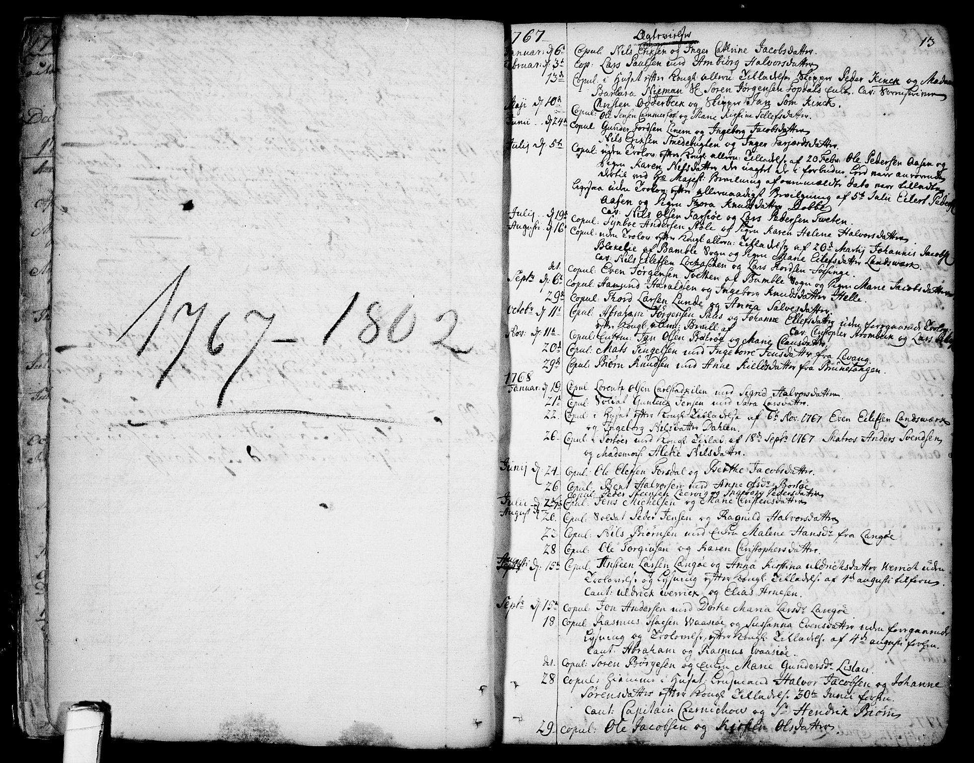 SAKO, Sannidal kirkebøker, F/Fa/L0002: Ministerialbok nr. 2, 1767-1802, s. 13