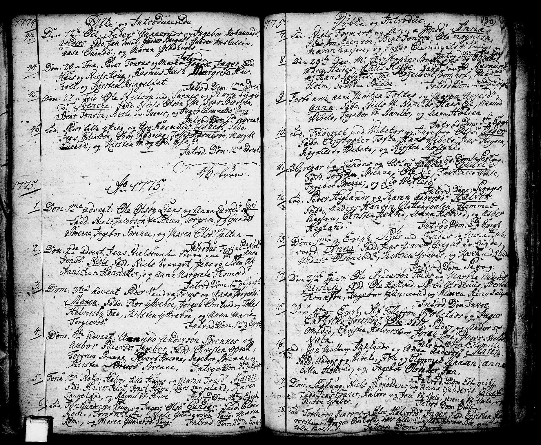 SAKO, Holla kirkebøker, F/Fa/L0001: Ministerialbok nr. 1, 1717-1779, s. 130