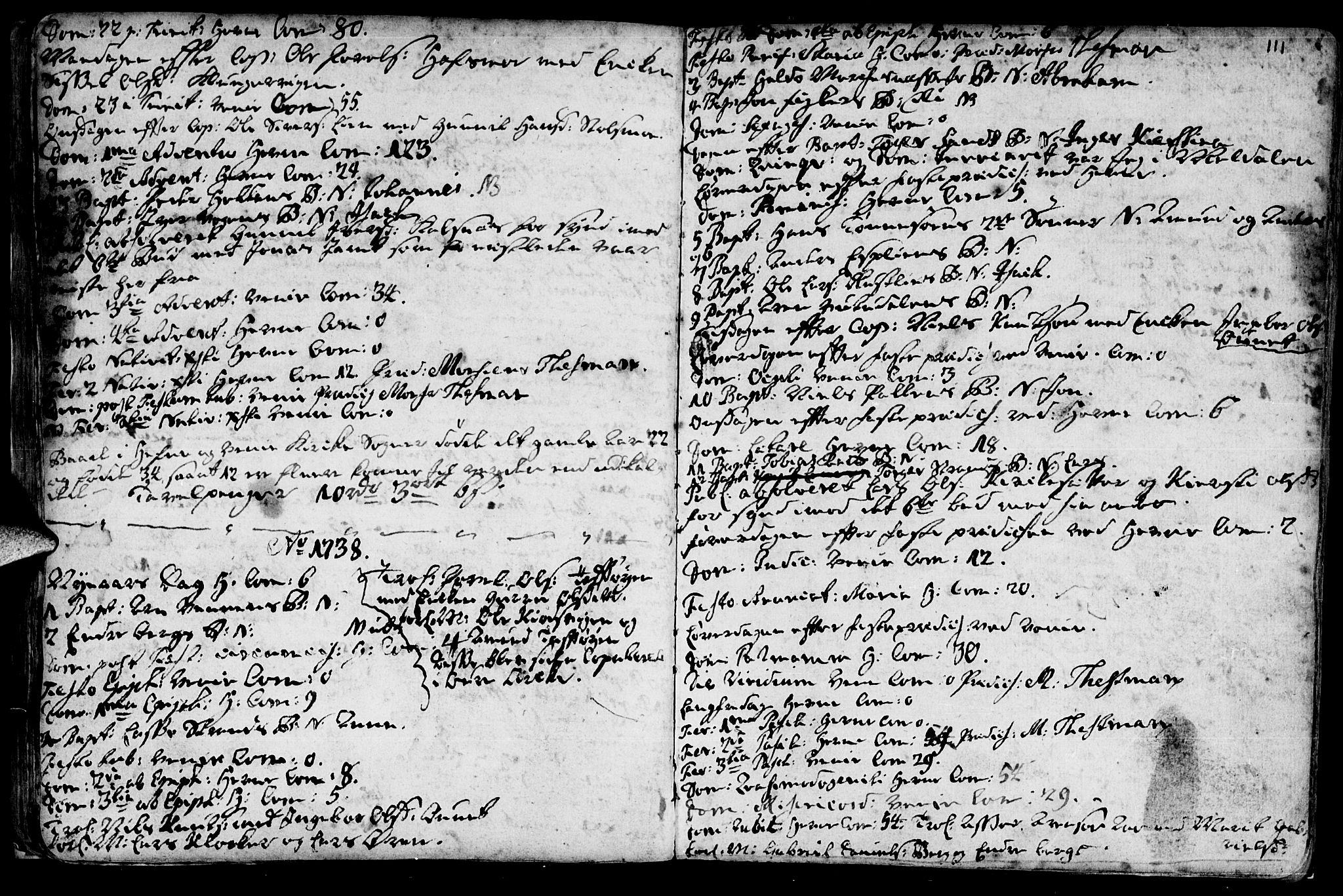 SAT, Ministerialprotokoller, klokkerbøker og fødselsregistre - Sør-Trøndelag, 630/L0488: Ministerialbok nr. 630A01, 1717-1756, s. 110-111