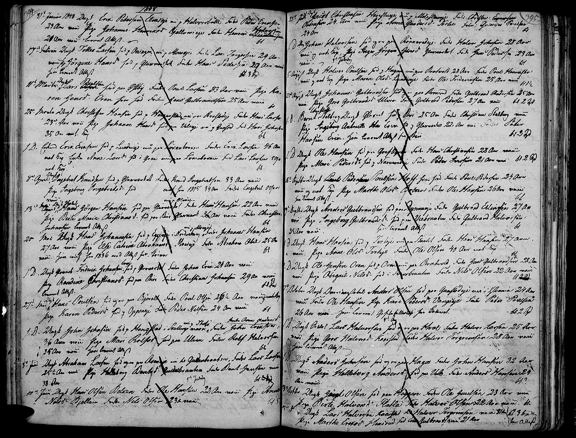 SAH, Jevnaker prestekontor, Ministerialbok nr. 4, 1800-1861, s. 394-395