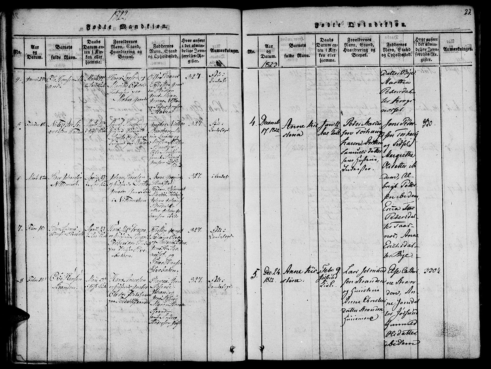 SAT, Ministerialprotokoller, klokkerbøker og fødselsregistre - Sør-Trøndelag, 655/L0675: Ministerialbok nr. 655A04, 1818-1830, s. 22
