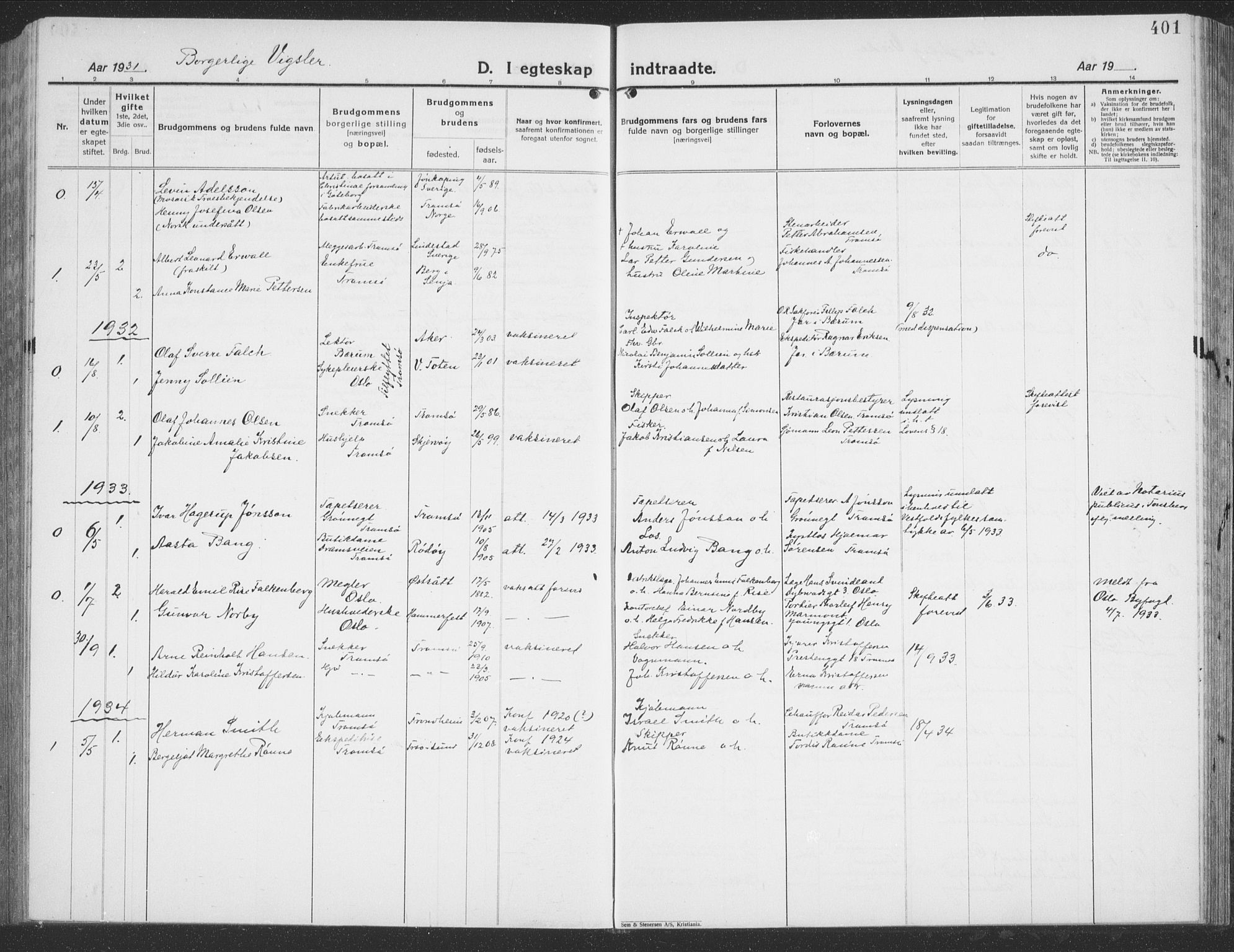 SATØ, Tromsø sokneprestkontor/stiftsprosti/domprosti, G/Gb/L0010klokker: Klokkerbok nr. 10, 1925-1937, s. 401