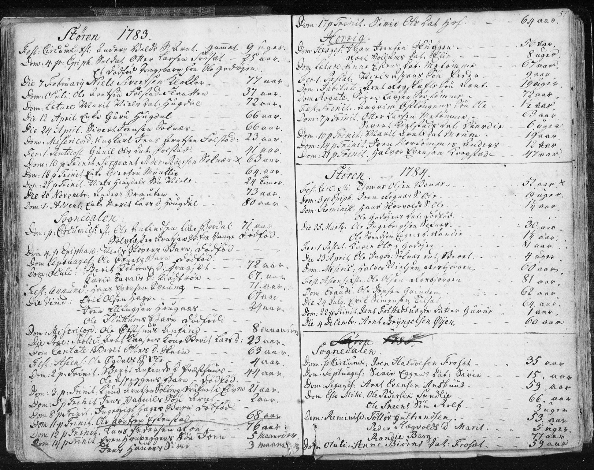 SAT, Ministerialprotokoller, klokkerbøker og fødselsregistre - Sør-Trøndelag, 687/L0991: Ministerialbok nr. 687A02, 1747-1790, s. 57