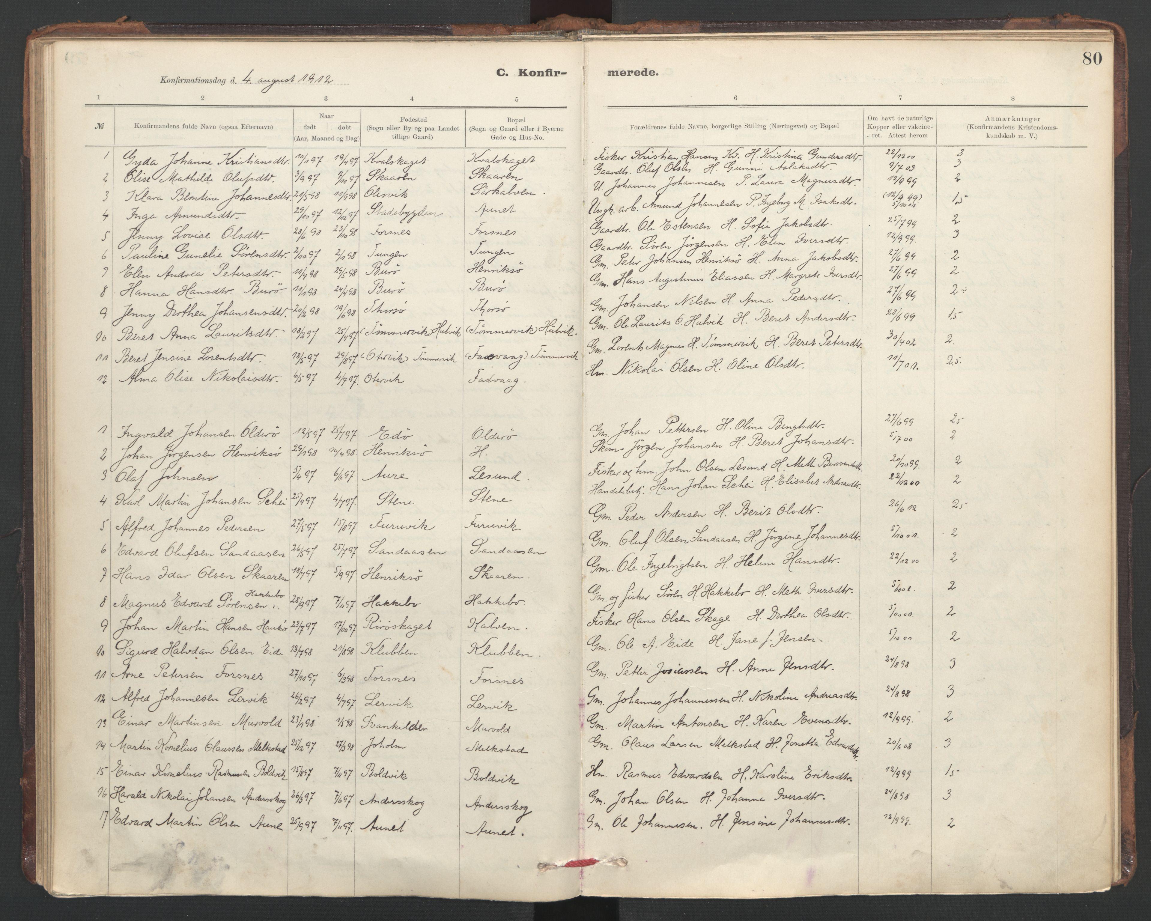 SAT, Ministerialprotokoller, klokkerbøker og fødselsregistre - Sør-Trøndelag, 635/L0552: Ministerialbok nr. 635A02, 1899-1919, s. 80