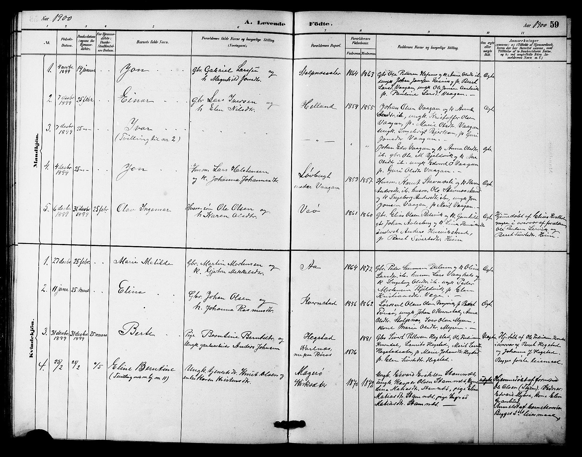 SAT, Ministerialprotokoller, klokkerbøker og fødselsregistre - Sør-Trøndelag, 633/L0519: Klokkerbok nr. 633C01, 1884-1905, s. 59