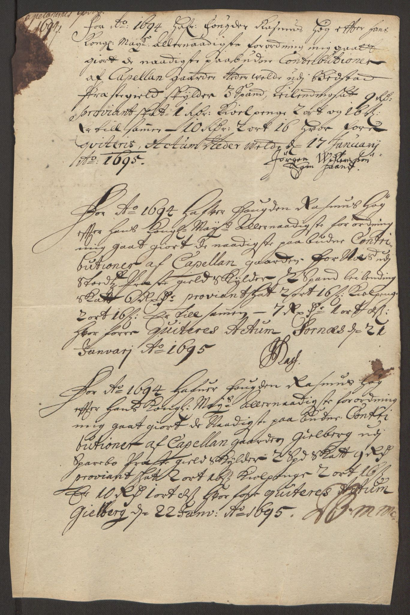RA, Rentekammeret inntil 1814, Reviderte regnskaper, Fogderegnskap, R63/L4308: Fogderegnskap Inderøy, 1692-1694, s. 613