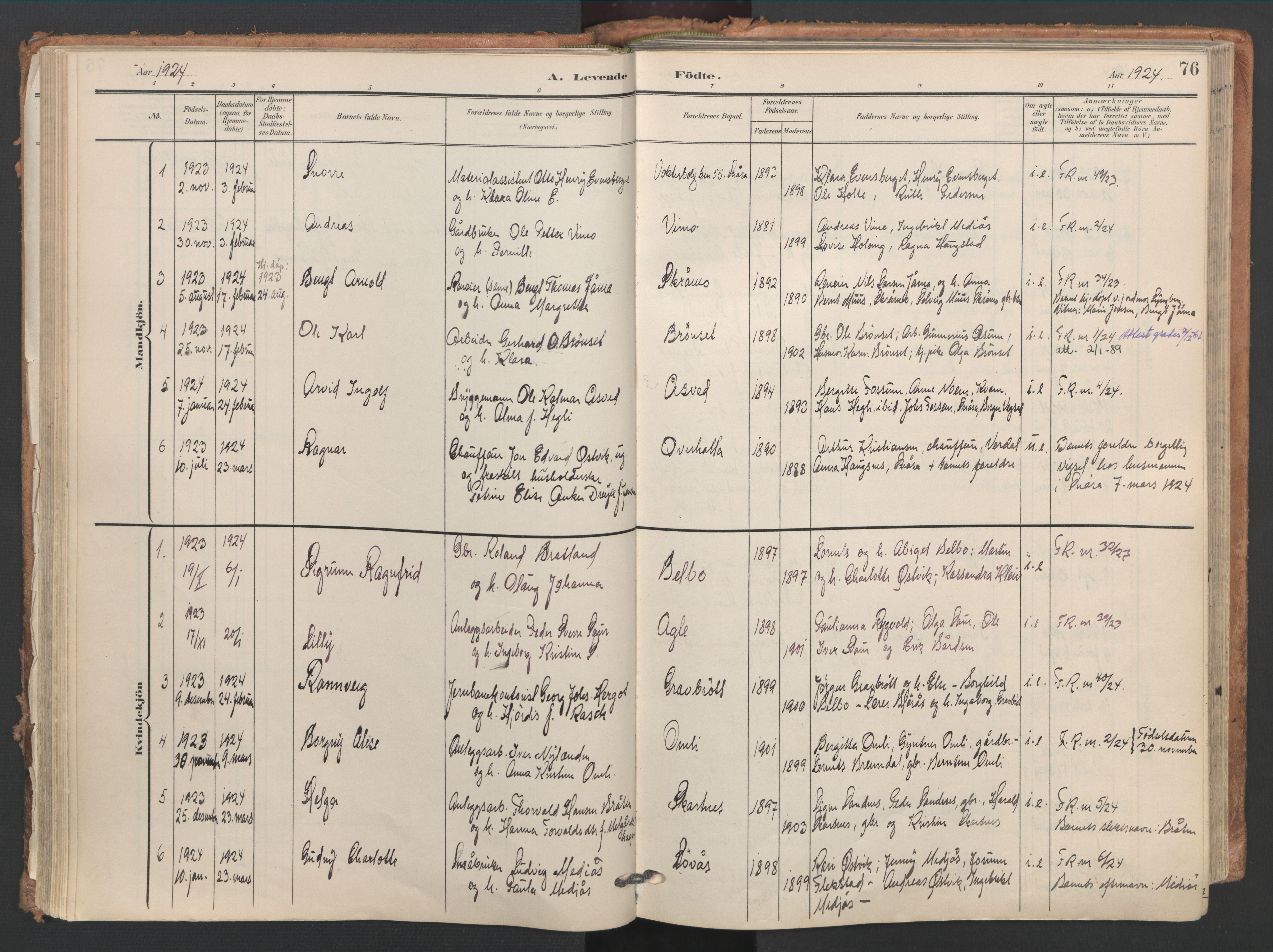 SAT, Ministerialprotokoller, klokkerbøker og fødselsregistre - Nord-Trøndelag, 749/L0477: Ministerialbok nr. 749A11, 1902-1927, s. 76