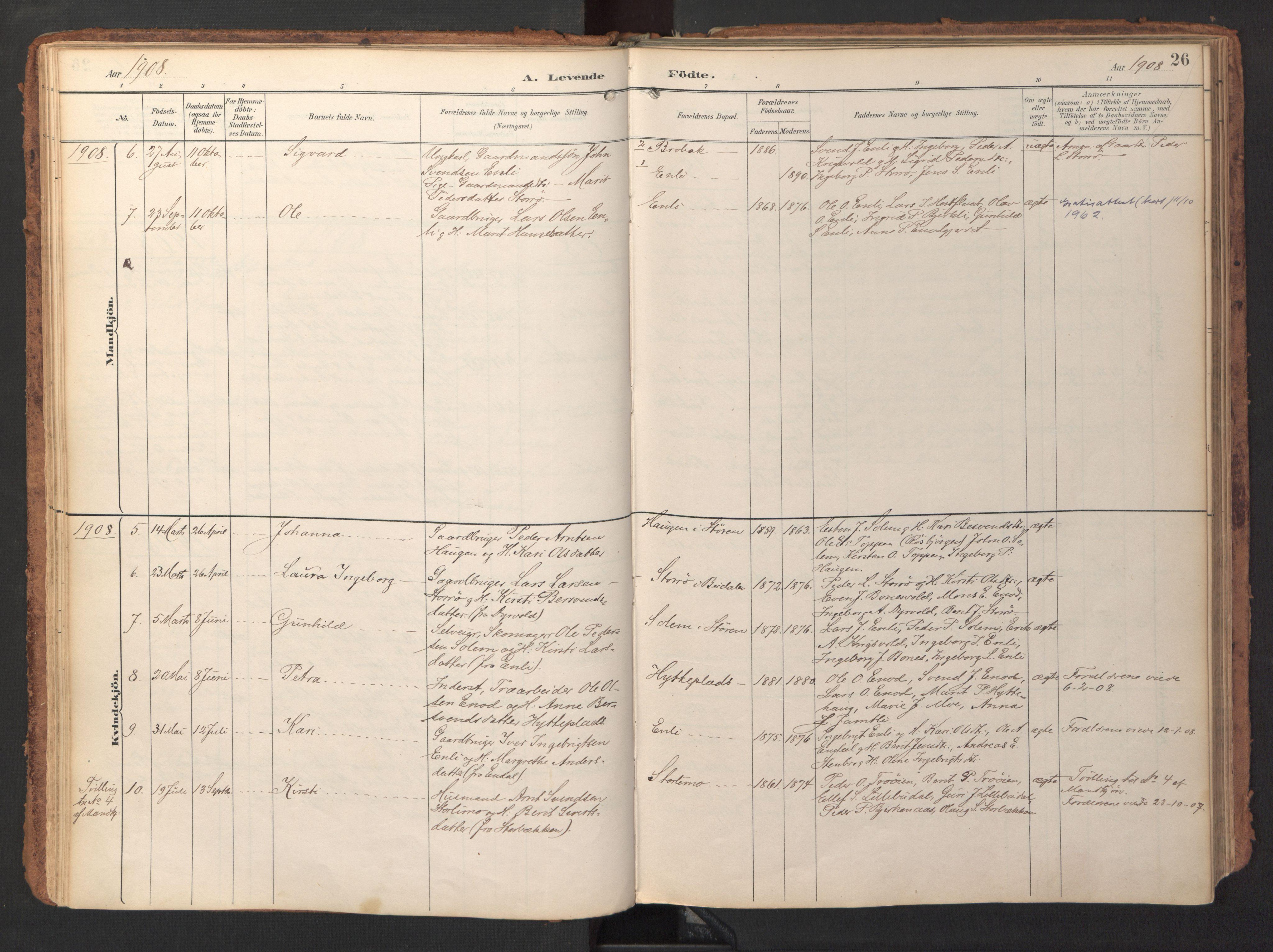 SAT, Ministerialprotokoller, klokkerbøker og fødselsregistre - Sør-Trøndelag, 690/L1050: Ministerialbok nr. 690A01, 1889-1929, s. 26