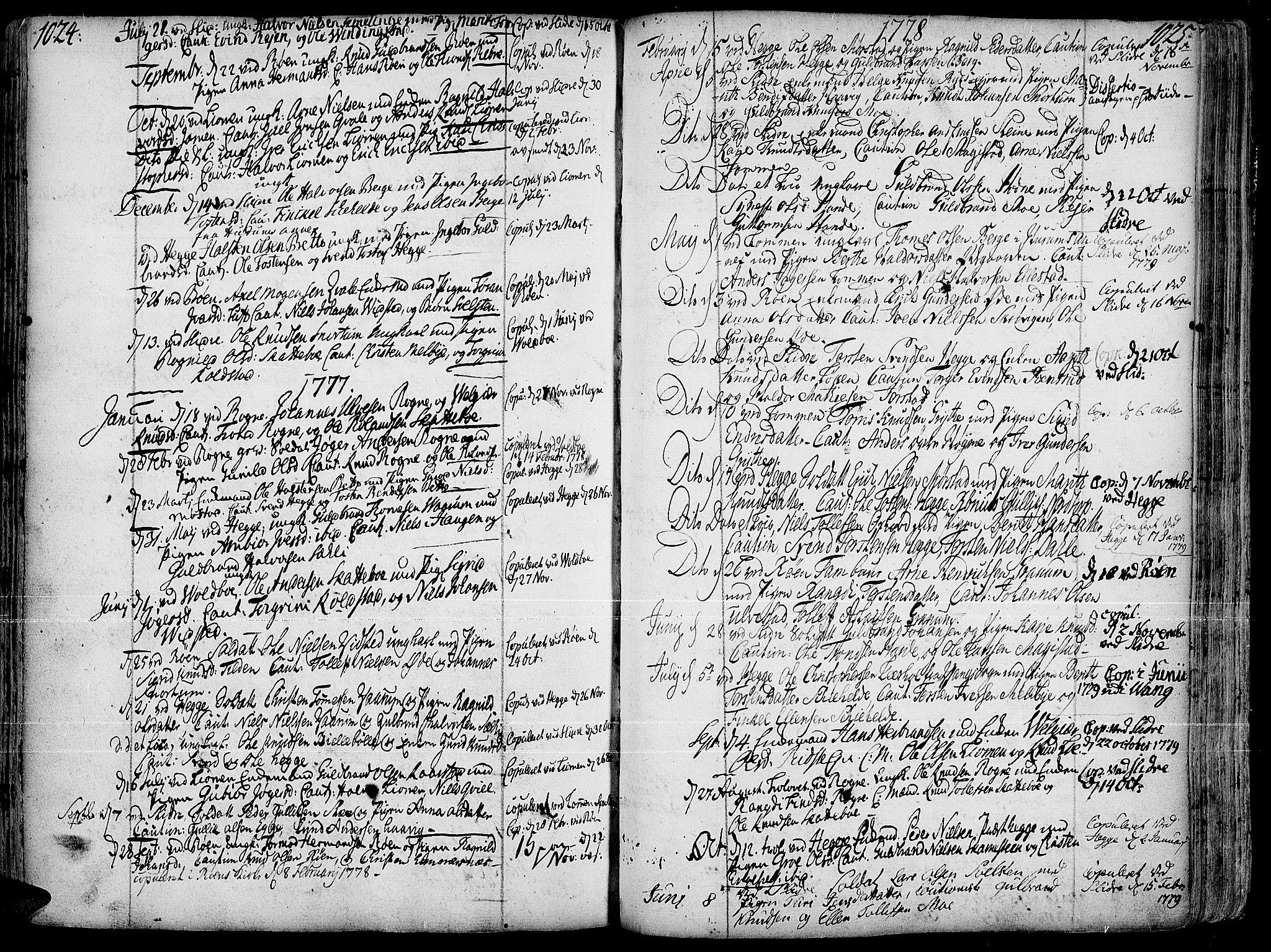 SAH, Slidre prestekontor, Ministerialbok nr. 1, 1724-1814, s. 1024-1025
