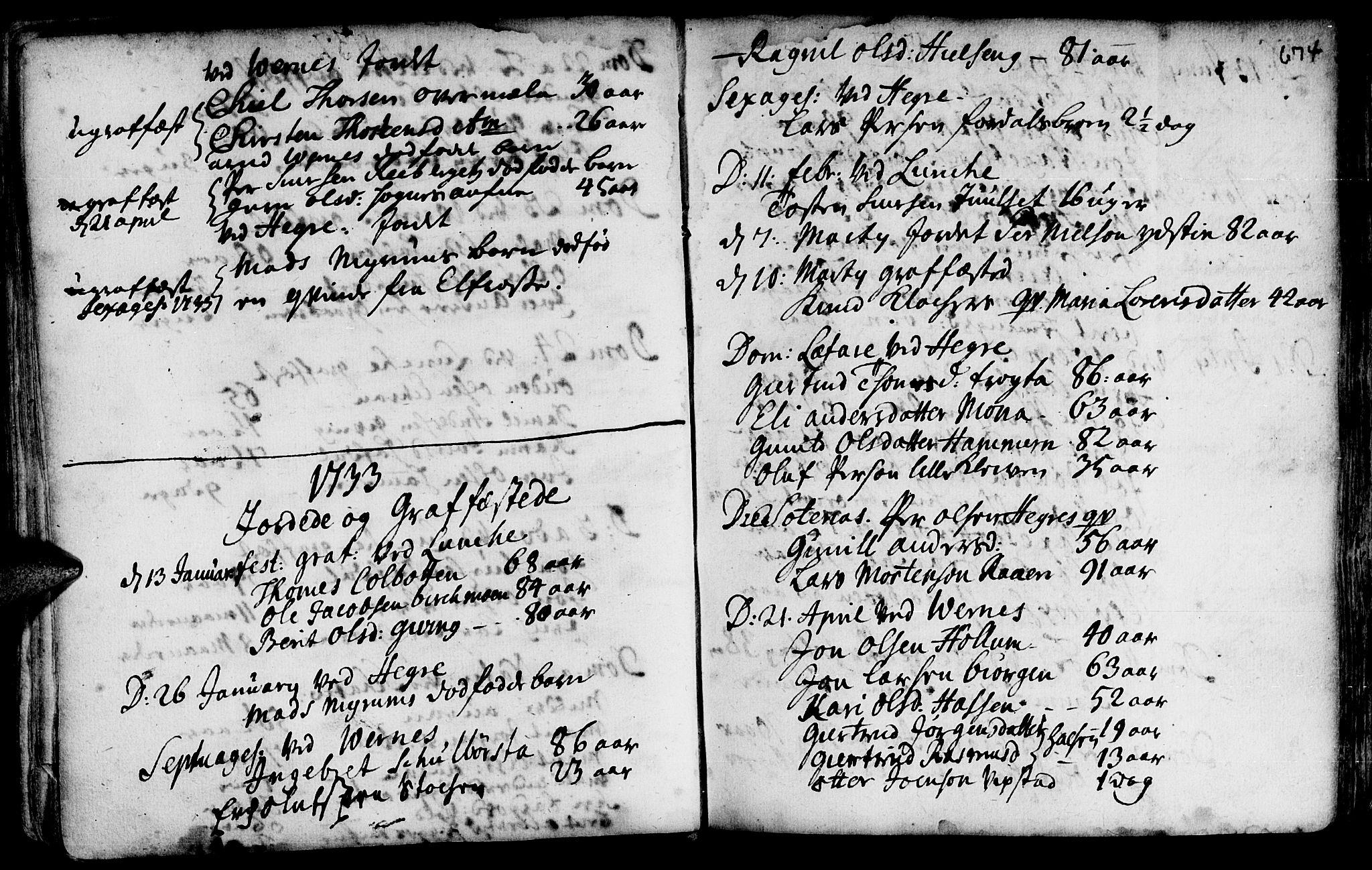 SAT, Ministerialprotokoller, klokkerbøker og fødselsregistre - Nord-Trøndelag, 709/L0055: Ministerialbok nr. 709A03, 1730-1739, s. 673-674