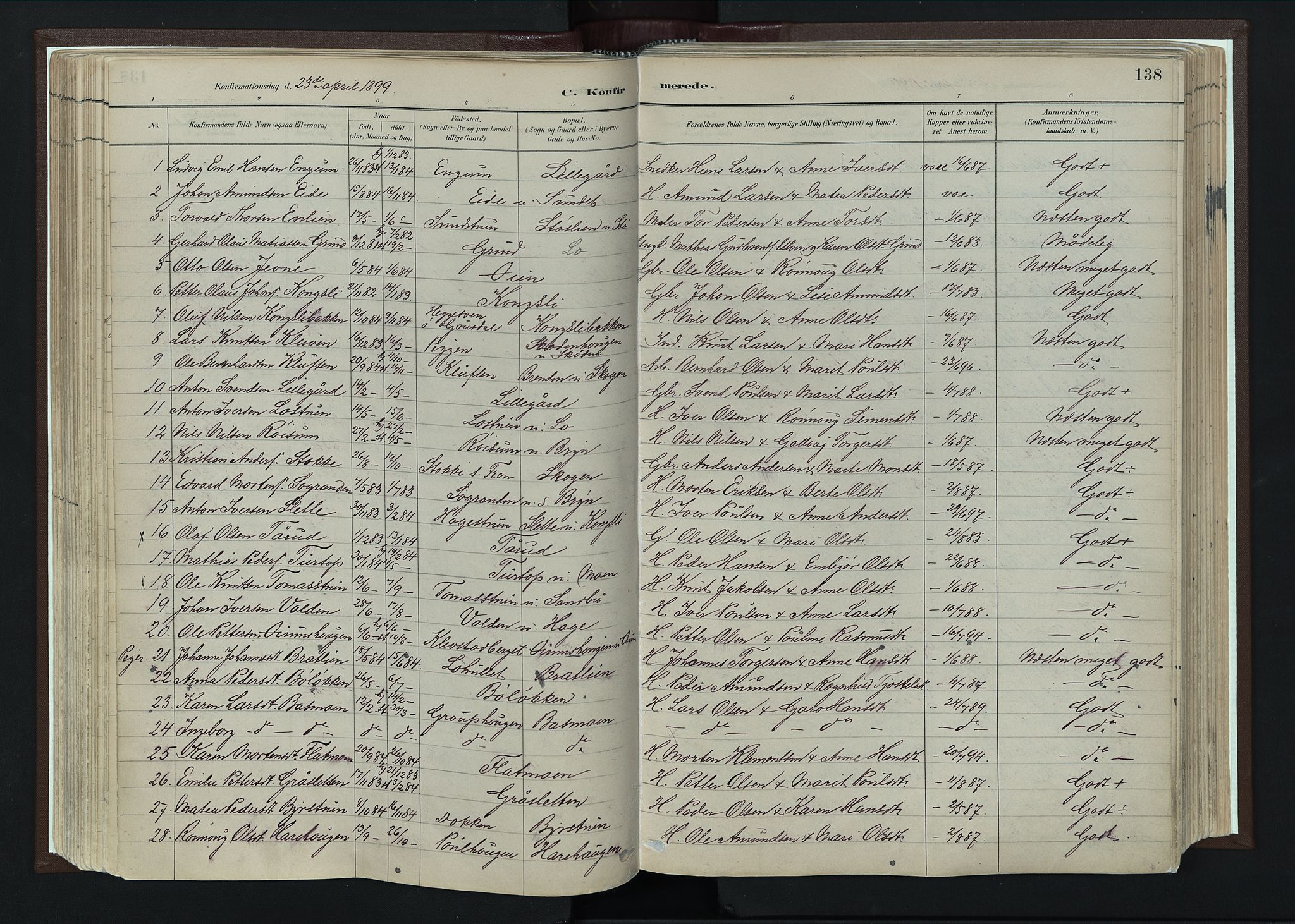 SAH, Nord-Fron prestekontor, Ministerialbok nr. 4, 1884-1914, s. 138