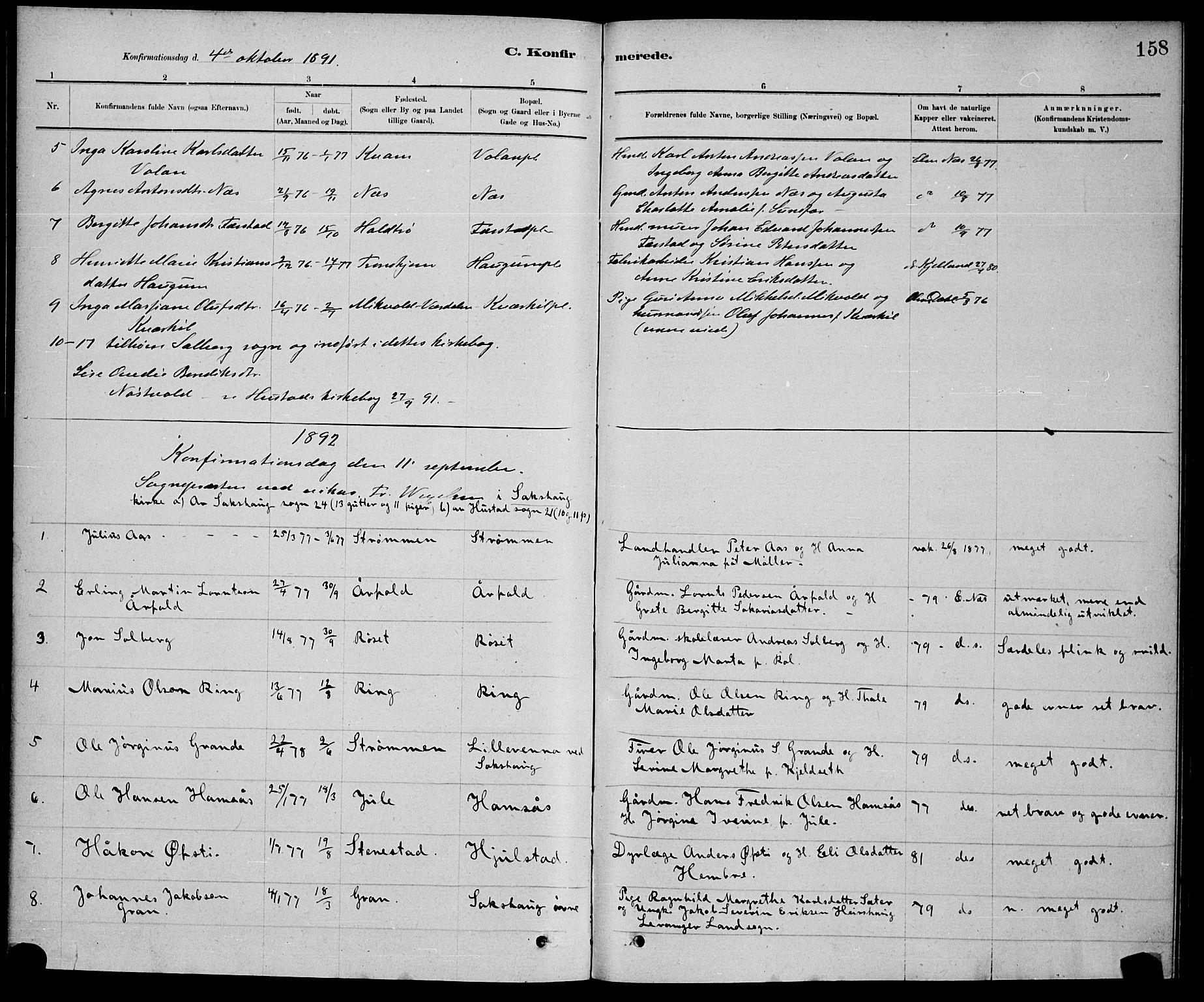 SAT, Ministerialprotokoller, klokkerbøker og fødselsregistre - Nord-Trøndelag, 730/L0301: Klokkerbok nr. 730C04, 1880-1897, s. 158