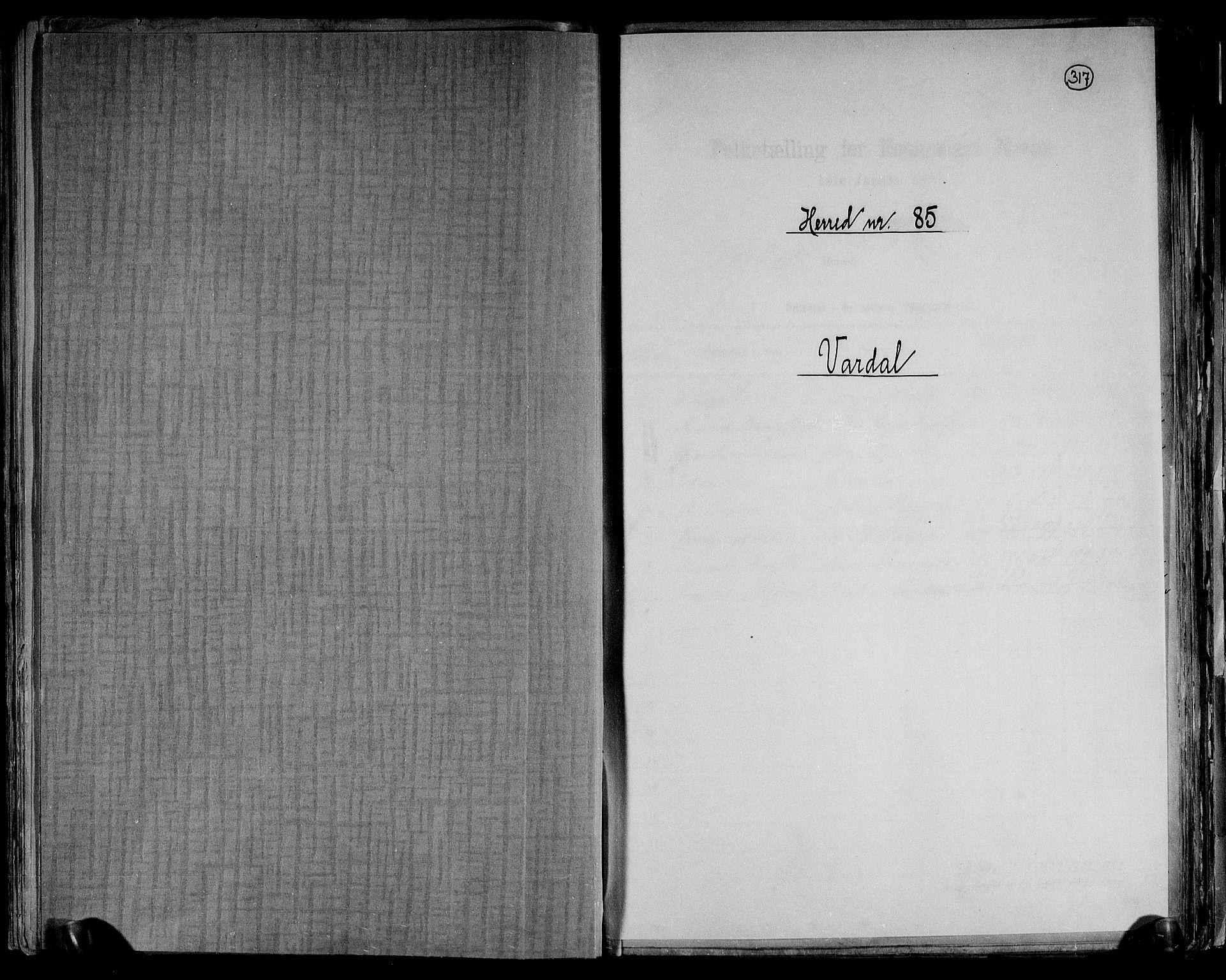 RA, Folketelling 1891 for 0527 Vardal herred, 1891, s. 1