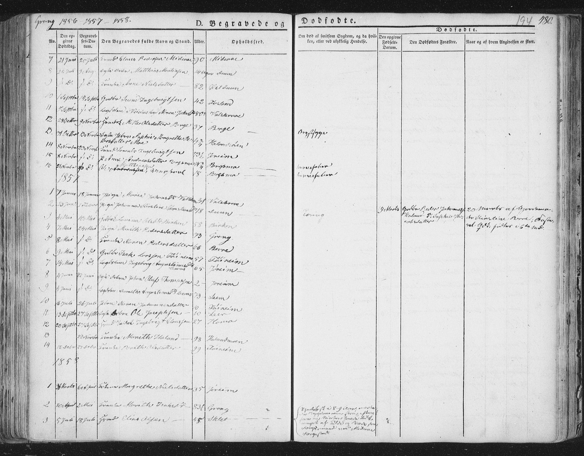 SAT, Ministerialprotokoller, klokkerbøker og fødselsregistre - Nord-Trøndelag, 758/L0513: Ministerialbok nr. 758A02 /1, 1839-1868, s. 194