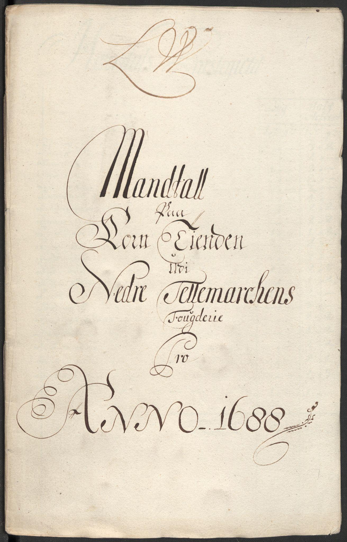 RA, Rentekammeret inntil 1814, Reviderte regnskaper, Fogderegnskap, R35/L2087: Fogderegnskap Øvre og Nedre Telemark, 1687-1689, s. 317