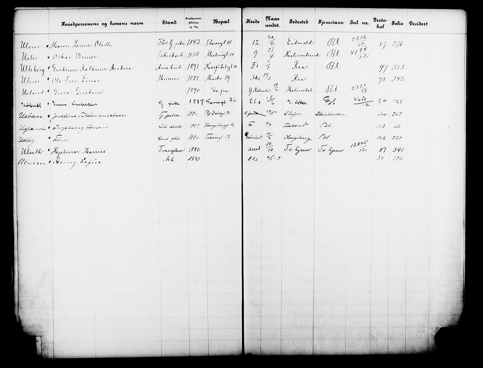 OBA, Fattigvesenet, Fb/L0031: Hjemstavnsregister, 1912, s. 195
