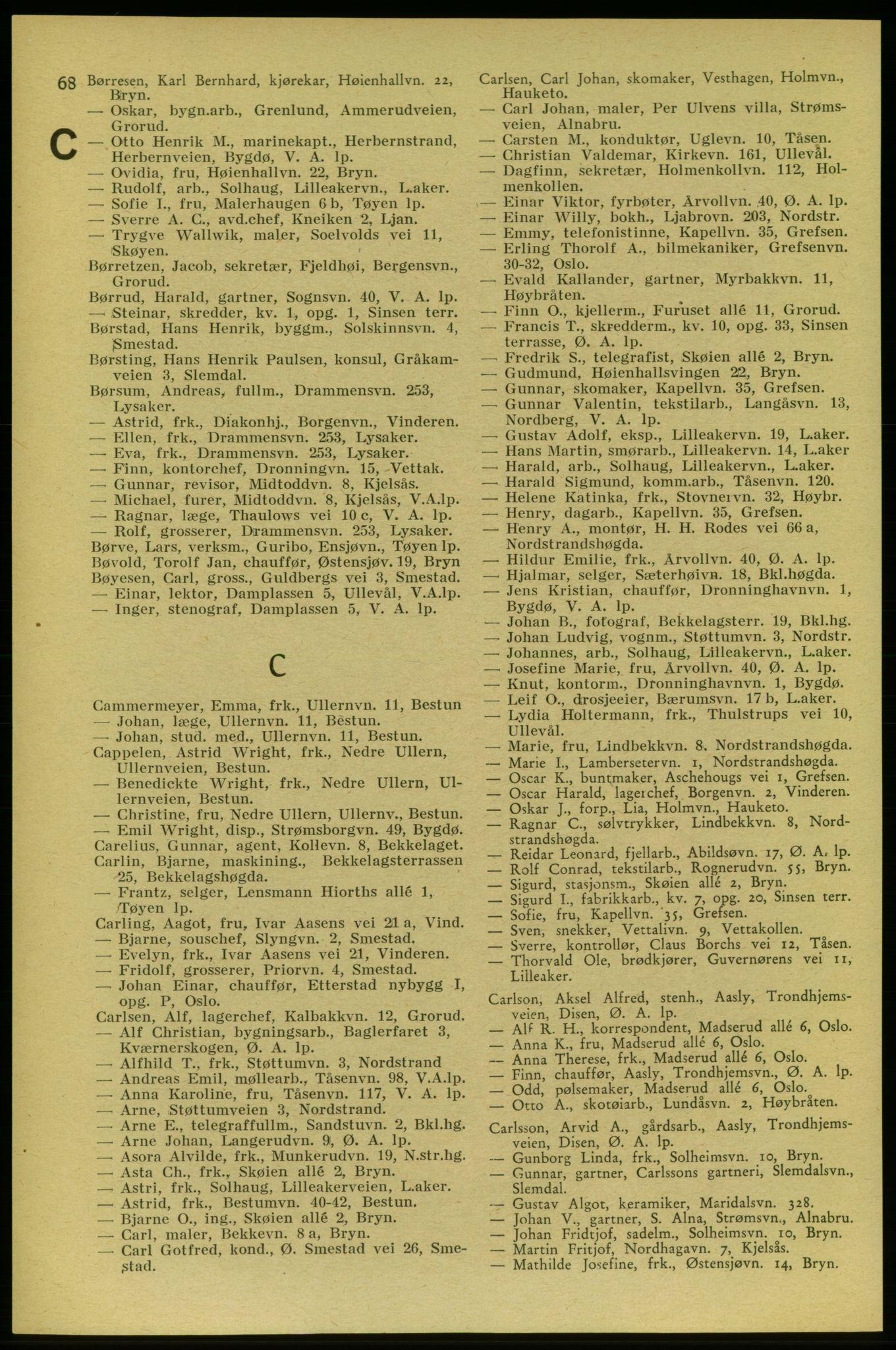 RA, Aker adressebok/adressekalender (publikasjon)*, 1937-1938, s. 68