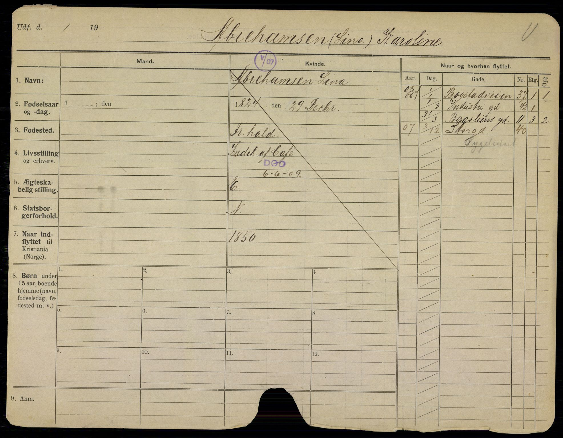 SAO, Oslo folkeregister, Registerkort, G/Gb/L0008: Kvinner, 1909