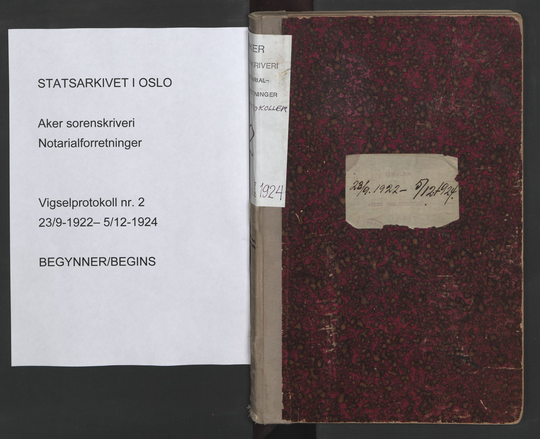 SAO, Aker sorenskriveri, L/Lc/Lcb/L0002: Vigselprotokoll, 1922-1924, s. upaginert