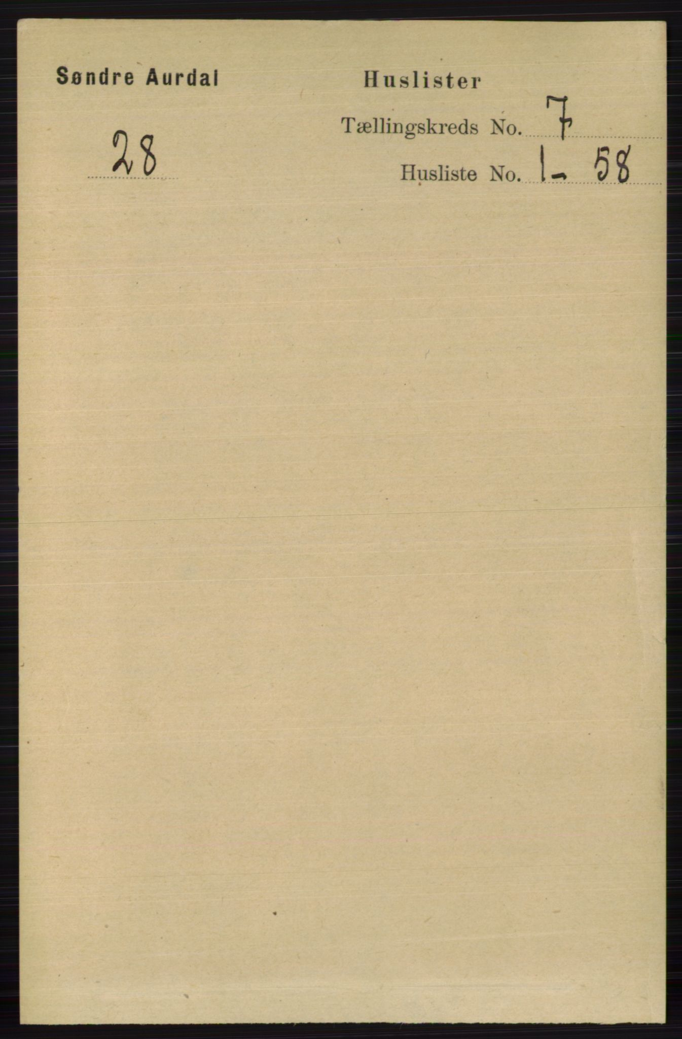 RA, Folketelling 1891 for 0540 Sør-Aurdal herred, 1891, s. 4336