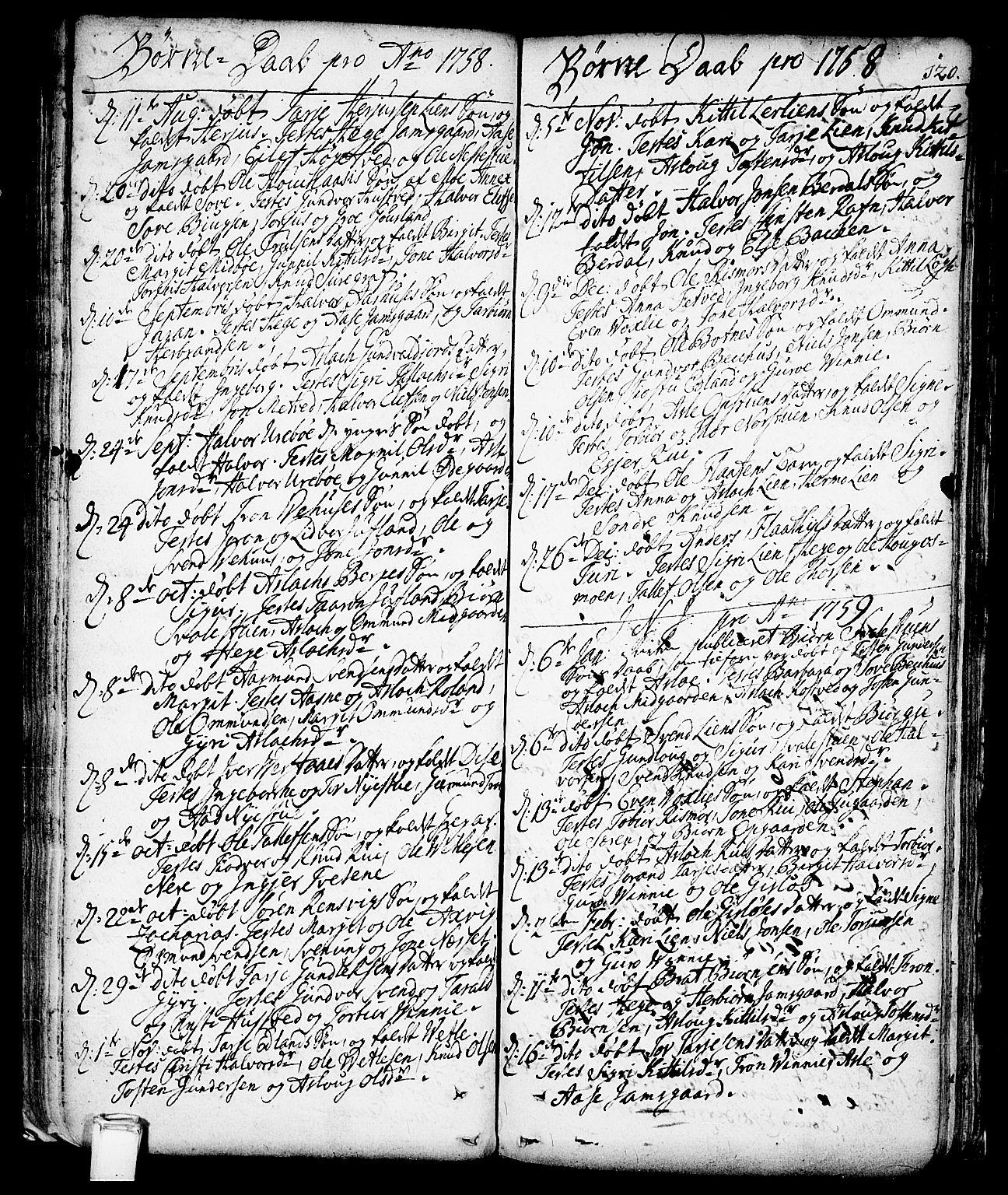 SAKO, Vinje kirkebøker, F/Fa/L0001: Ministerialbok nr. I 1, 1717-1766, s. 120