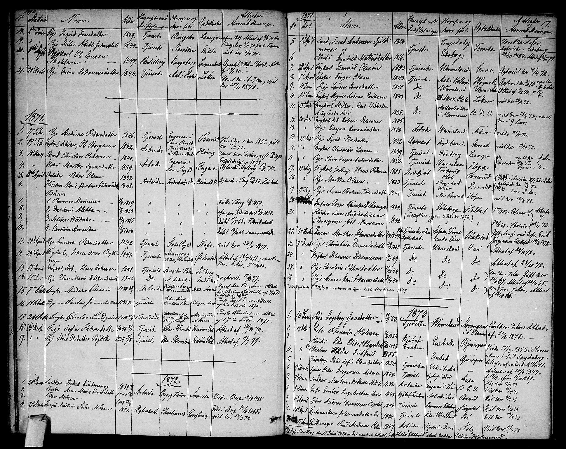SAO, Asker prestekontor Kirkebøker, F/Fa/L0012: Ministerialbok nr. I 12, 1825-1878, s. 17