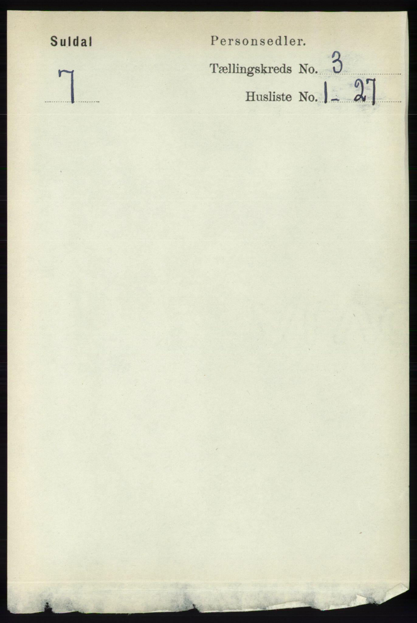 RA, Folketelling 1891 for 1134 Suldal herred, 1891, s. 612