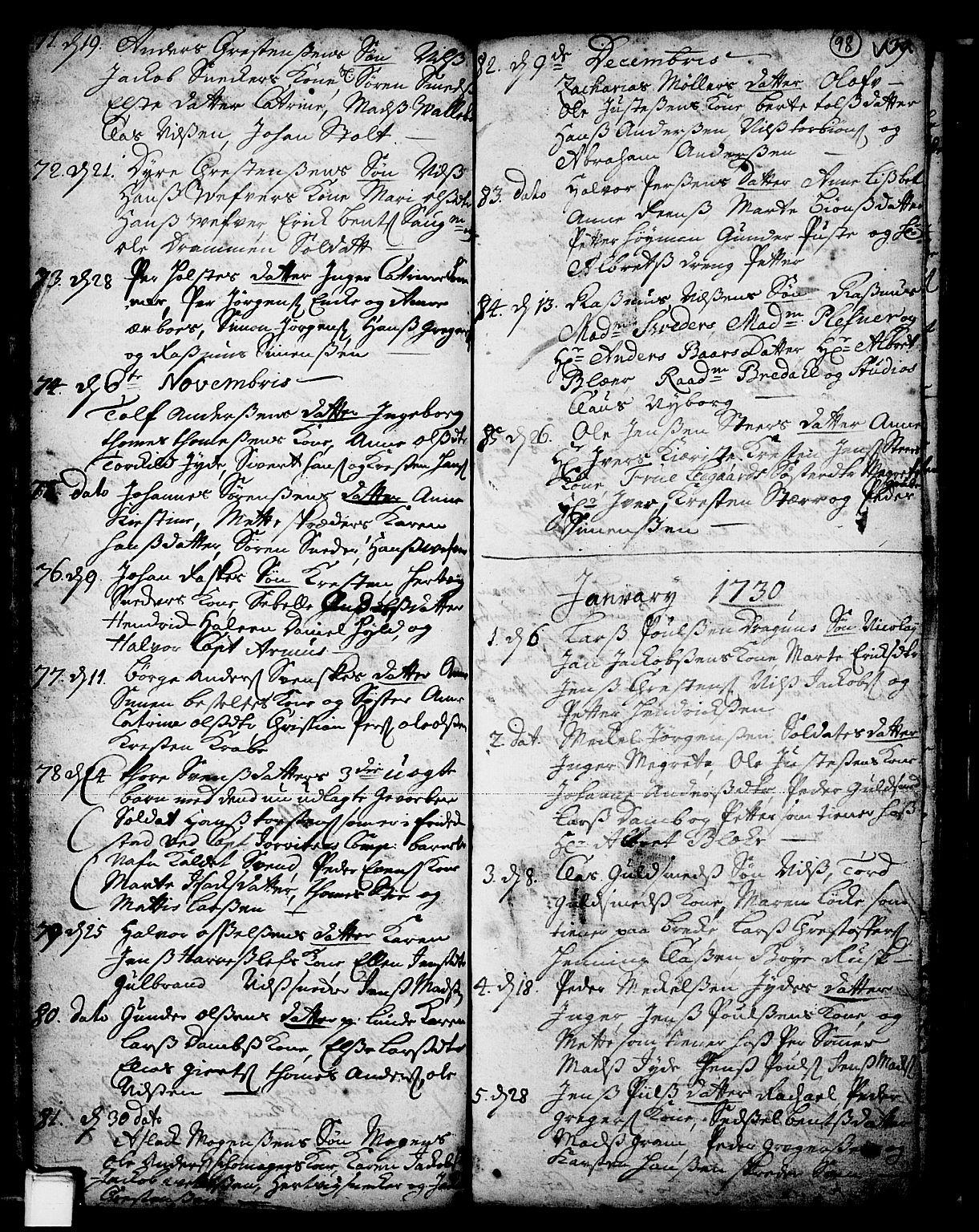 SAKO, Skien kirkebøker, F/Fa/L0002: Ministerialbok nr. 2, 1716-1757, s. 98