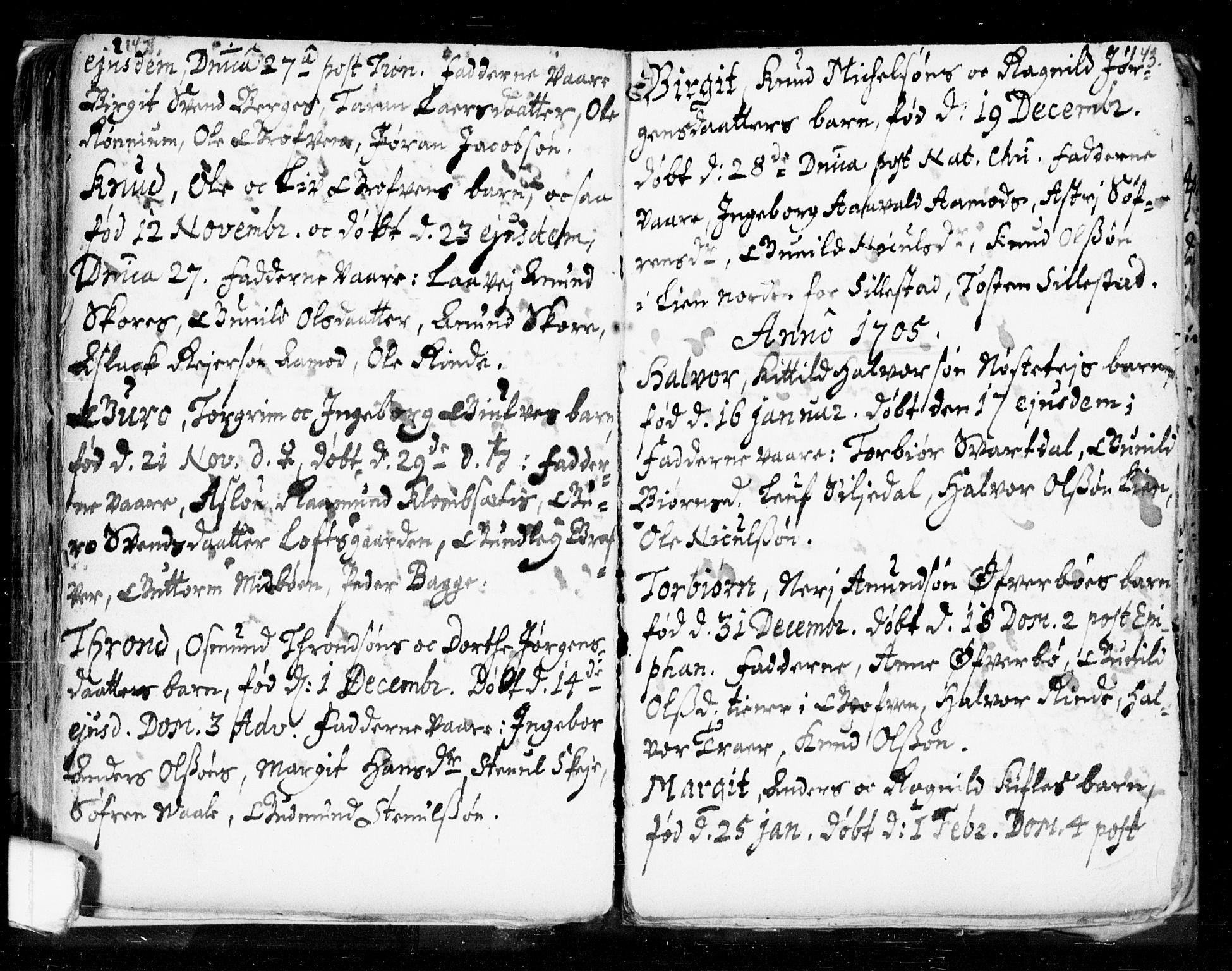 SAKO, Seljord kirkebøker, F/Fa/L0002: Ministerialbok nr. I 2, 1689-1713, s. 142-143