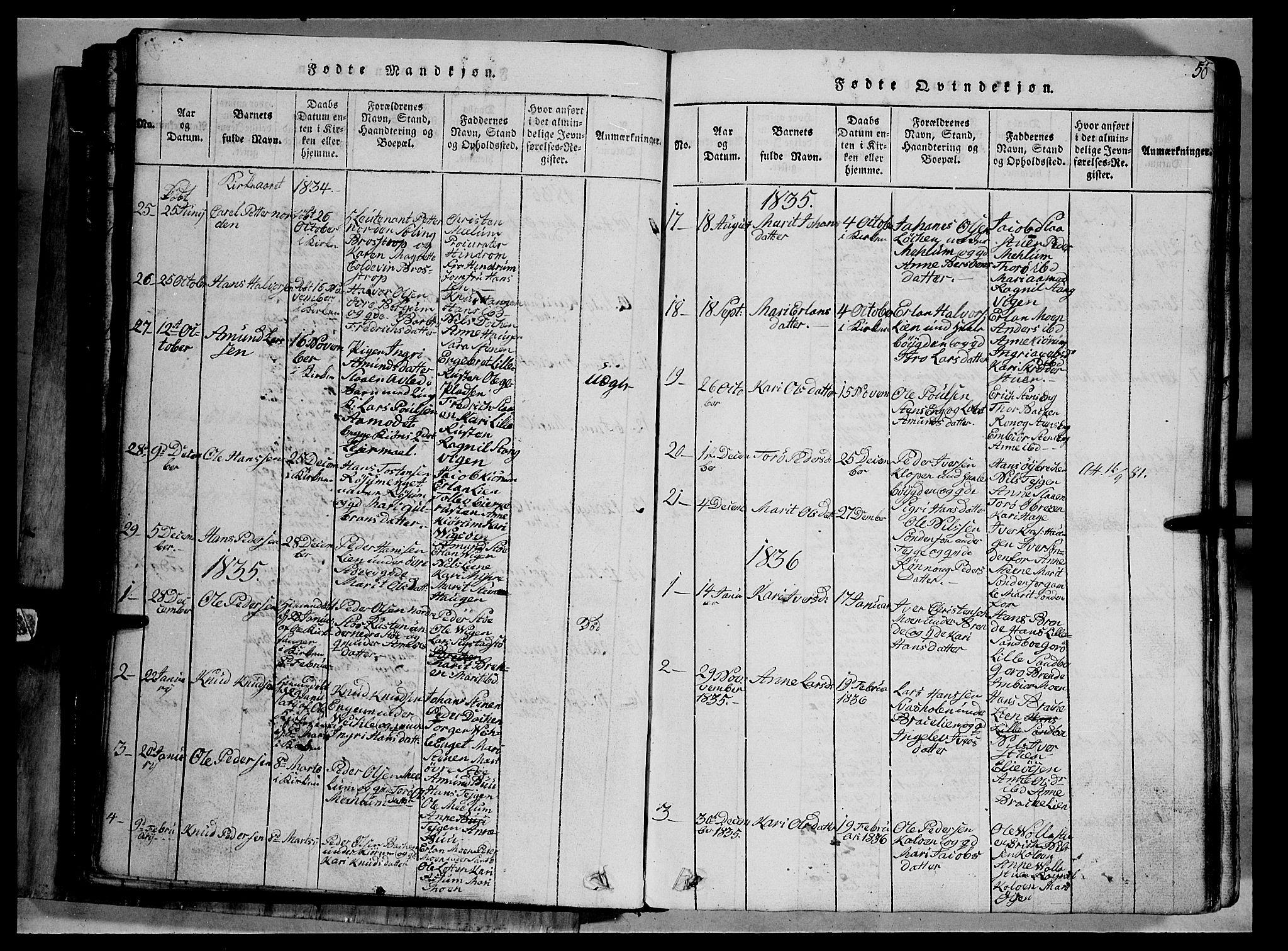 SAH, Fron prestekontor, H/Ha/Hab/L0002: Klokkerbok nr. 2, 1816-1850, s. 50