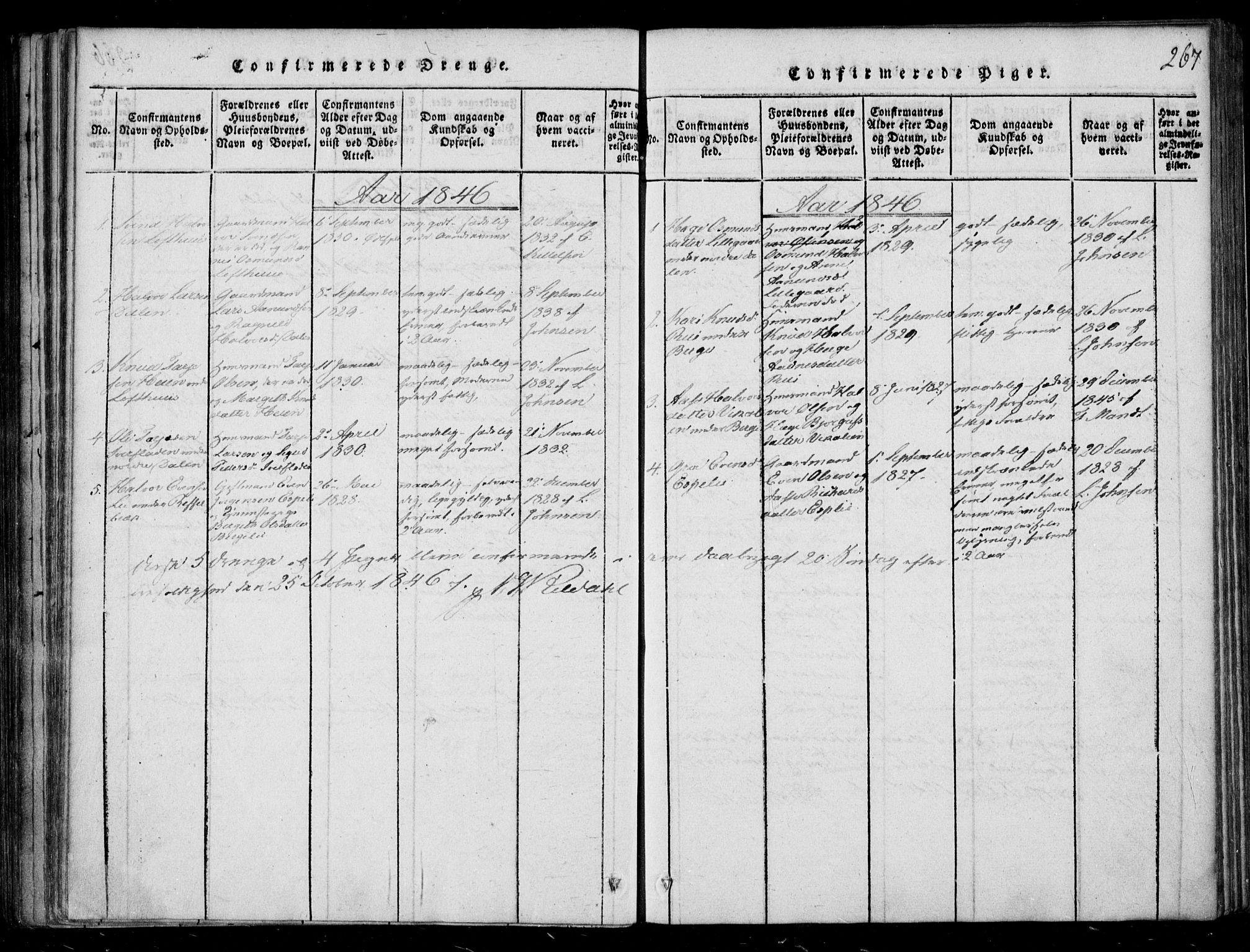 SAKO, Lårdal kirkebøker, F/Fb/L0001: Ministerialbok nr. II 1, 1815-1860, s. 267