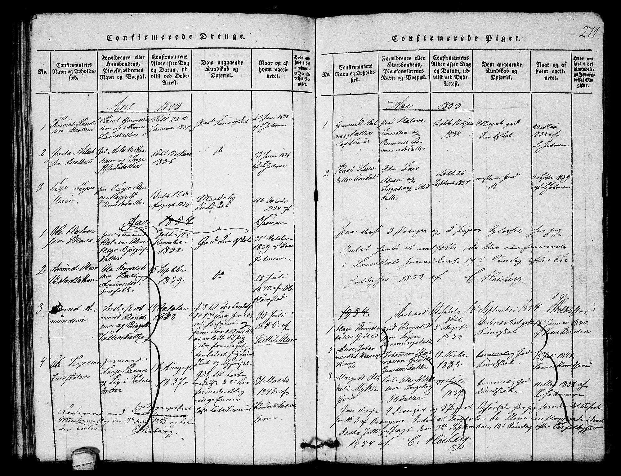 SAKO, Lårdal kirkebøker, G/Gb/L0001: Klokkerbok nr. II 1, 1815-1865, s. 274