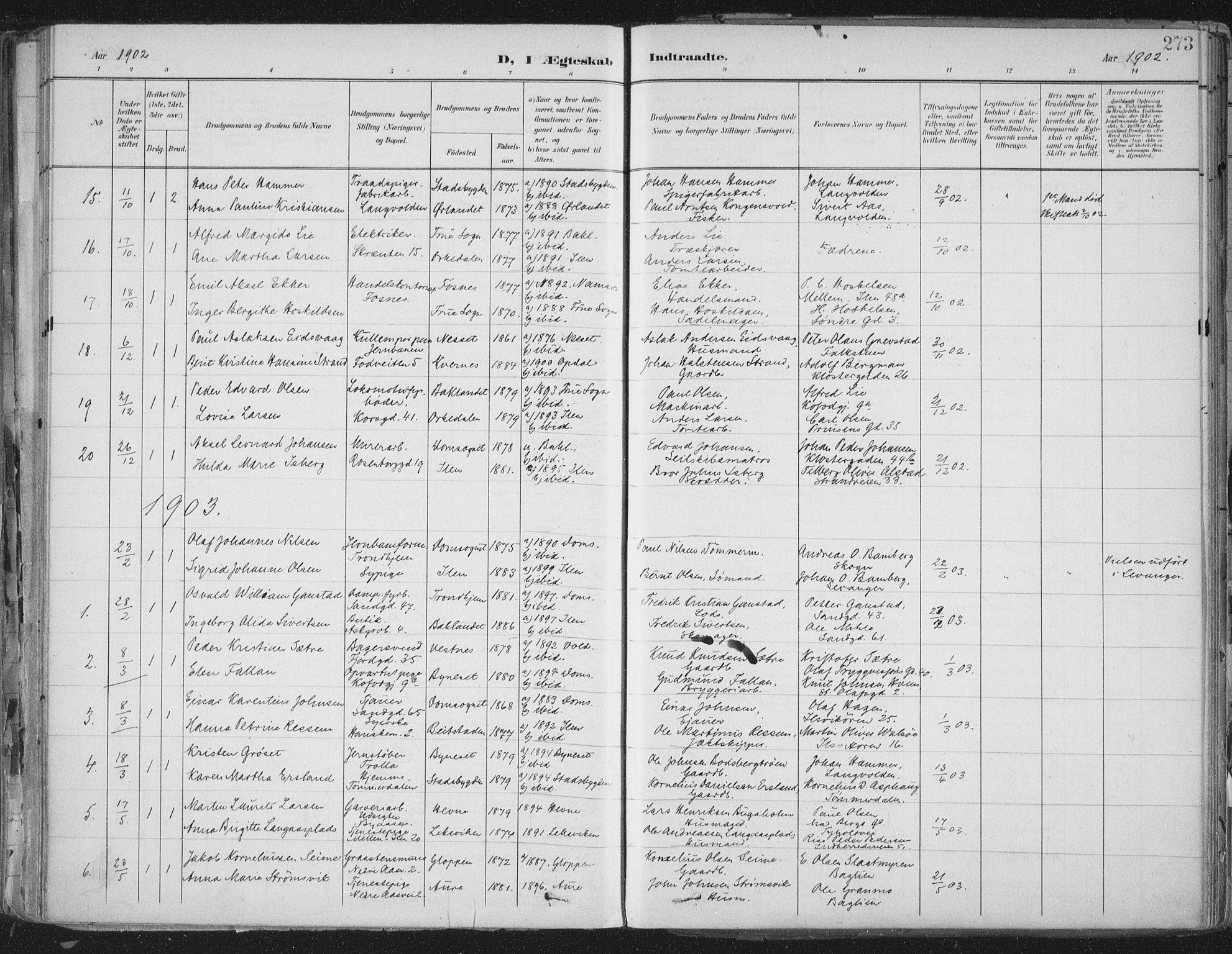 SAT, Ministerialprotokoller, klokkerbøker og fødselsregistre - Sør-Trøndelag, 603/L0167: Ministerialbok nr. 603A06, 1896-1932, s. 273