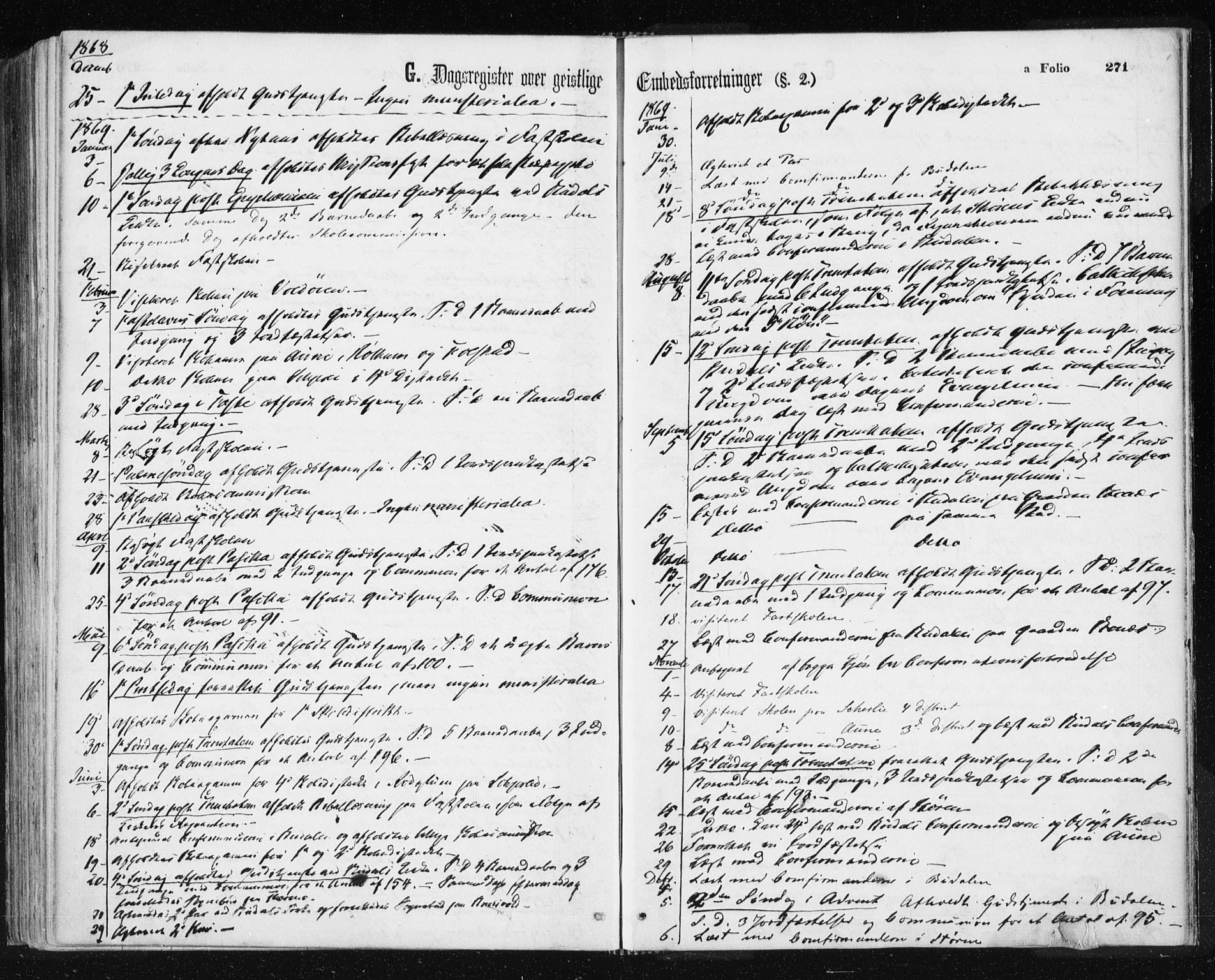 SAT, Ministerialprotokoller, klokkerbøker og fødselsregistre - Sør-Trøndelag, 687/L1001: Ministerialbok nr. 687A07, 1863-1878, s. 271