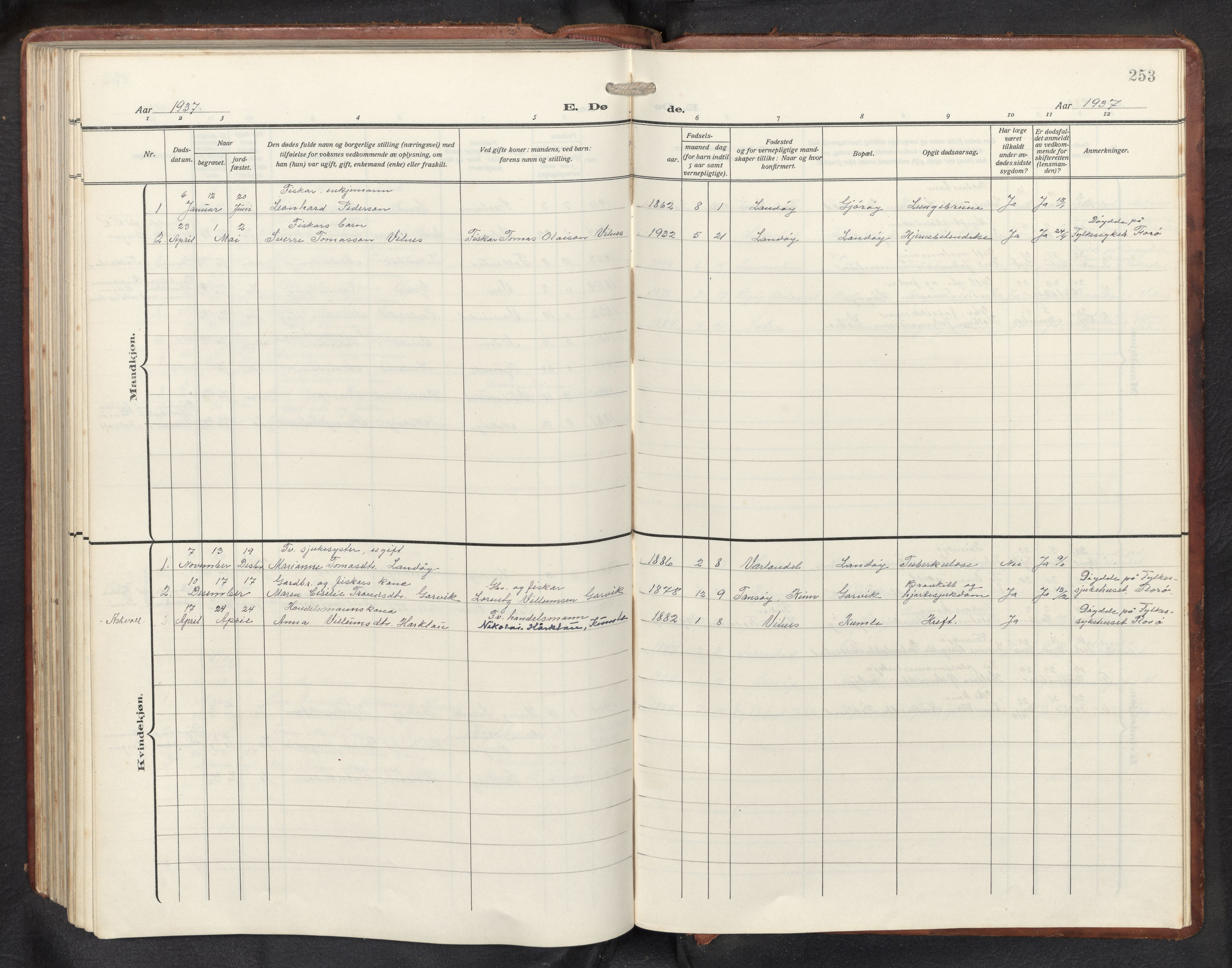 SAB, Askvoll sokneprestembete, H/Hab/Habb/L0002: Klokkerbok nr. B 2, 1910-1947, s. 252b-253a