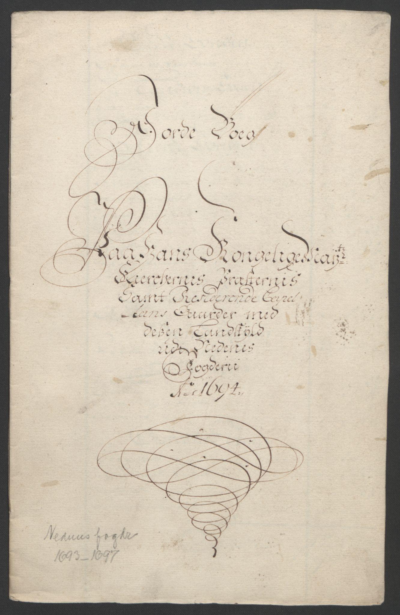 RA, Rentekammeret inntil 1814, Reviderte regnskaper, Fogderegnskap, R39/L2312: Fogderegnskap Nedenes, 1693-1695, s. 122