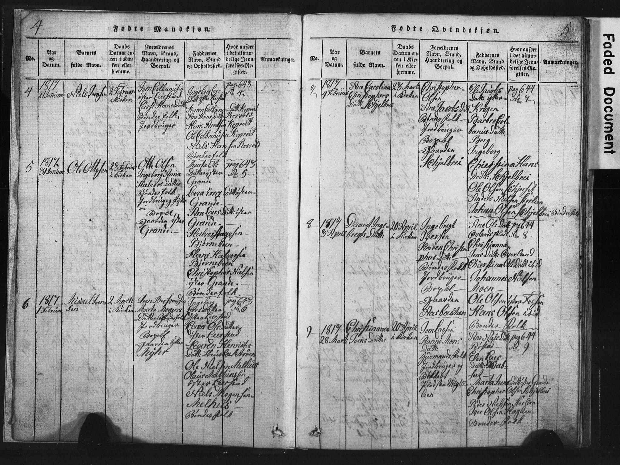 SAT, Ministerialprotokoller, klokkerbøker og fødselsregistre - Nord-Trøndelag, 701/L0017: Klokkerbok nr. 701C01, 1817-1825, s. 4-5