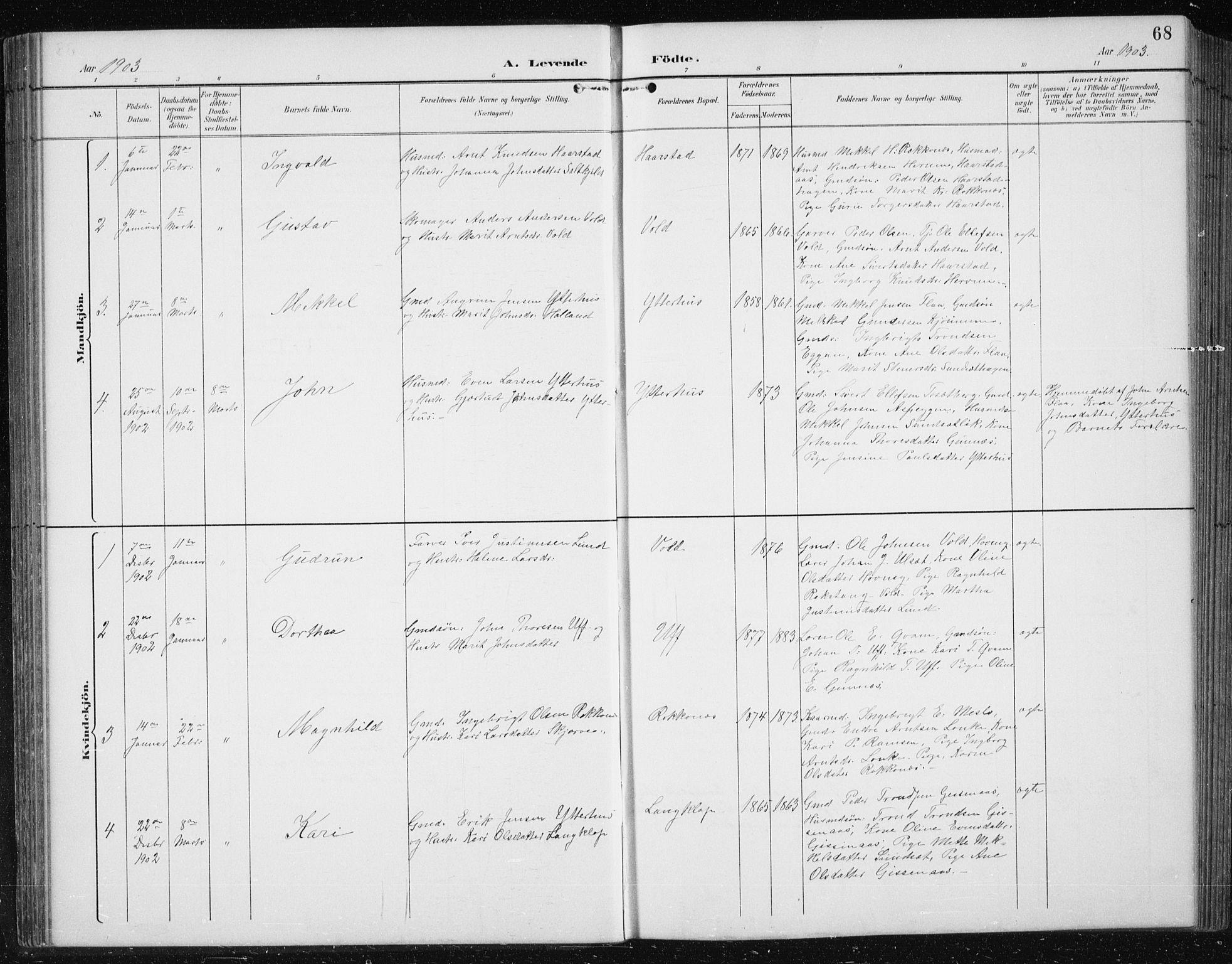 SAT, Ministerialprotokoller, klokkerbøker og fødselsregistre - Sør-Trøndelag, 674/L0876: Klokkerbok nr. 674C03, 1892-1912, s. 68