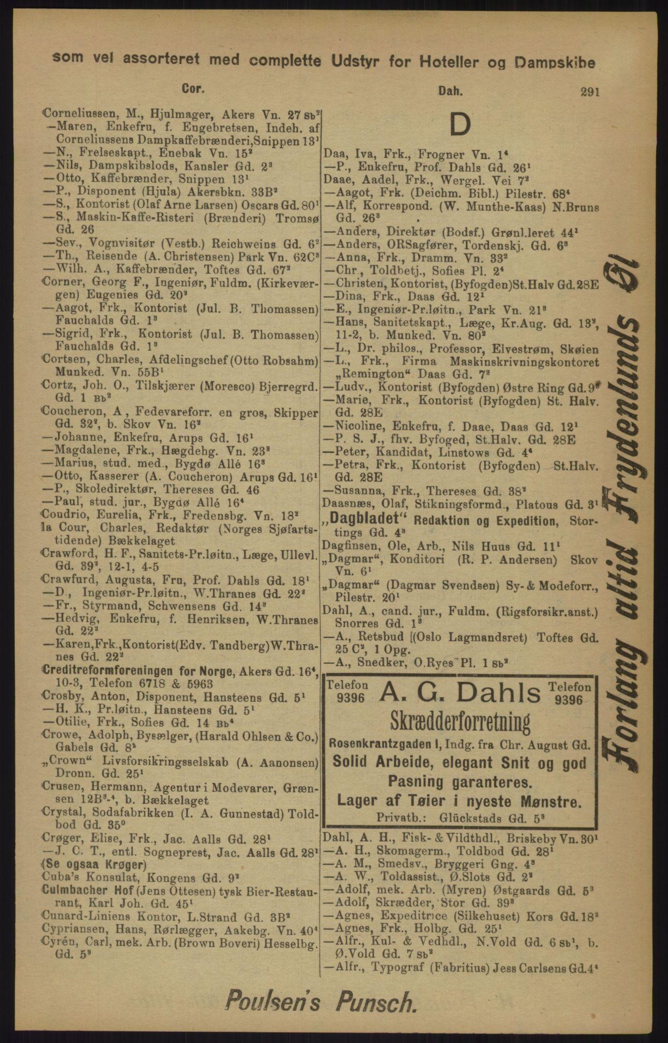 RA, Kristiania adressebok (publikasjon)*, 1905, s. 291