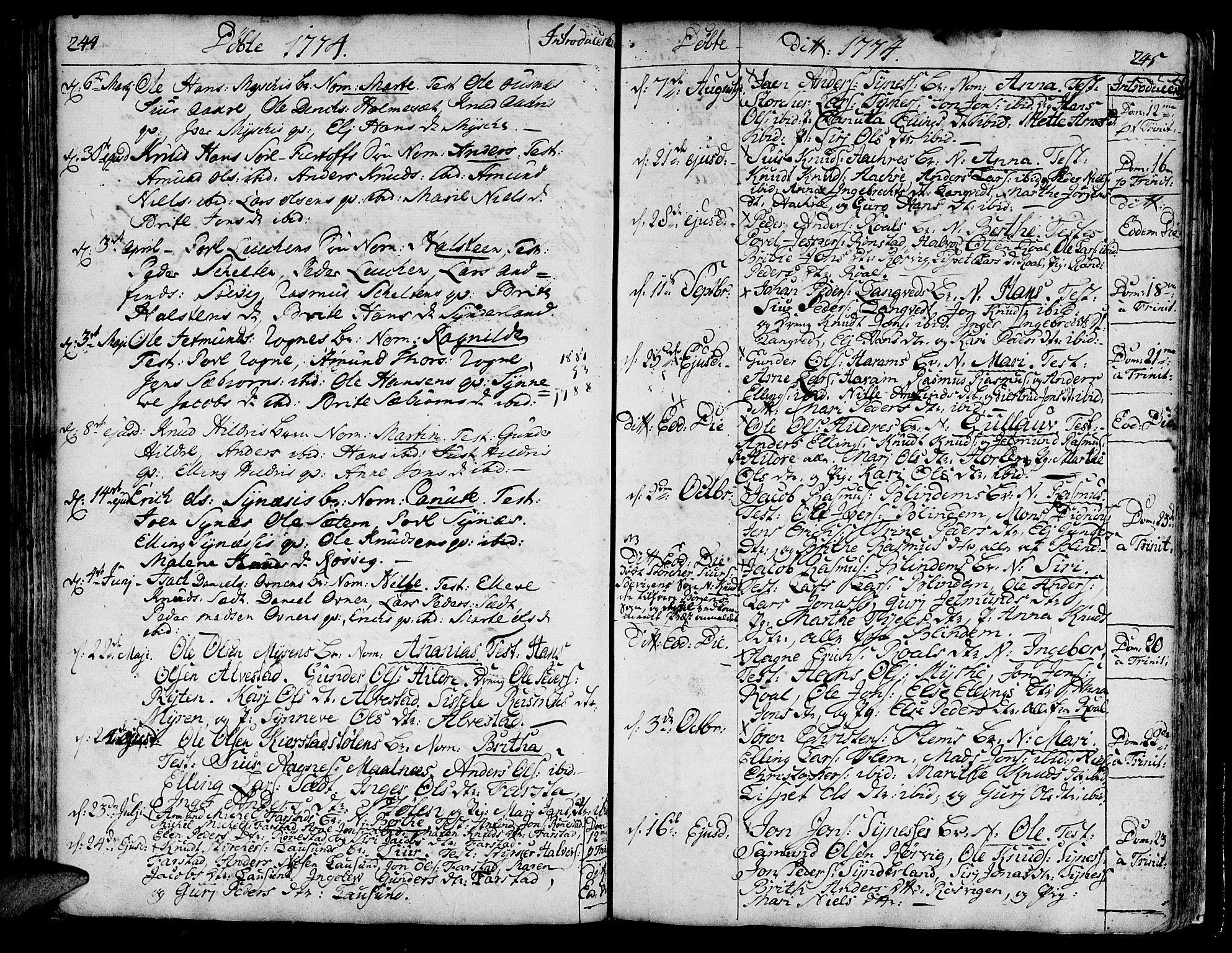 SAT, Ministerialprotokoller, klokkerbøker og fødselsregistre - Møre og Romsdal, 536/L0493: Ministerialbok nr. 536A02, 1739-1802, s. 244-245