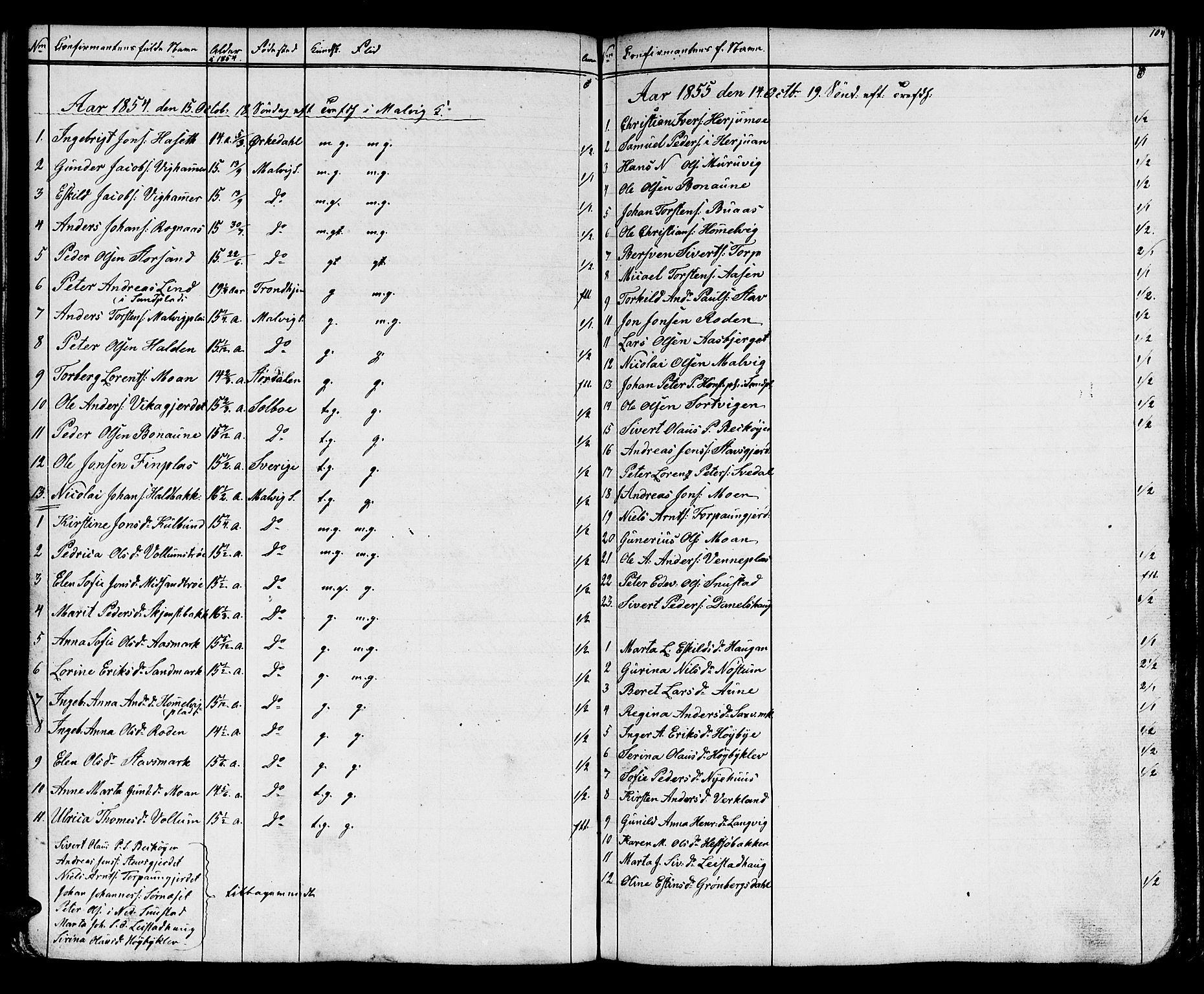 SAT, Ministerialprotokoller, klokkerbøker og fødselsregistre - Sør-Trøndelag, 616/L0422: Klokkerbok nr. 616C05, 1850-1888, s. 104