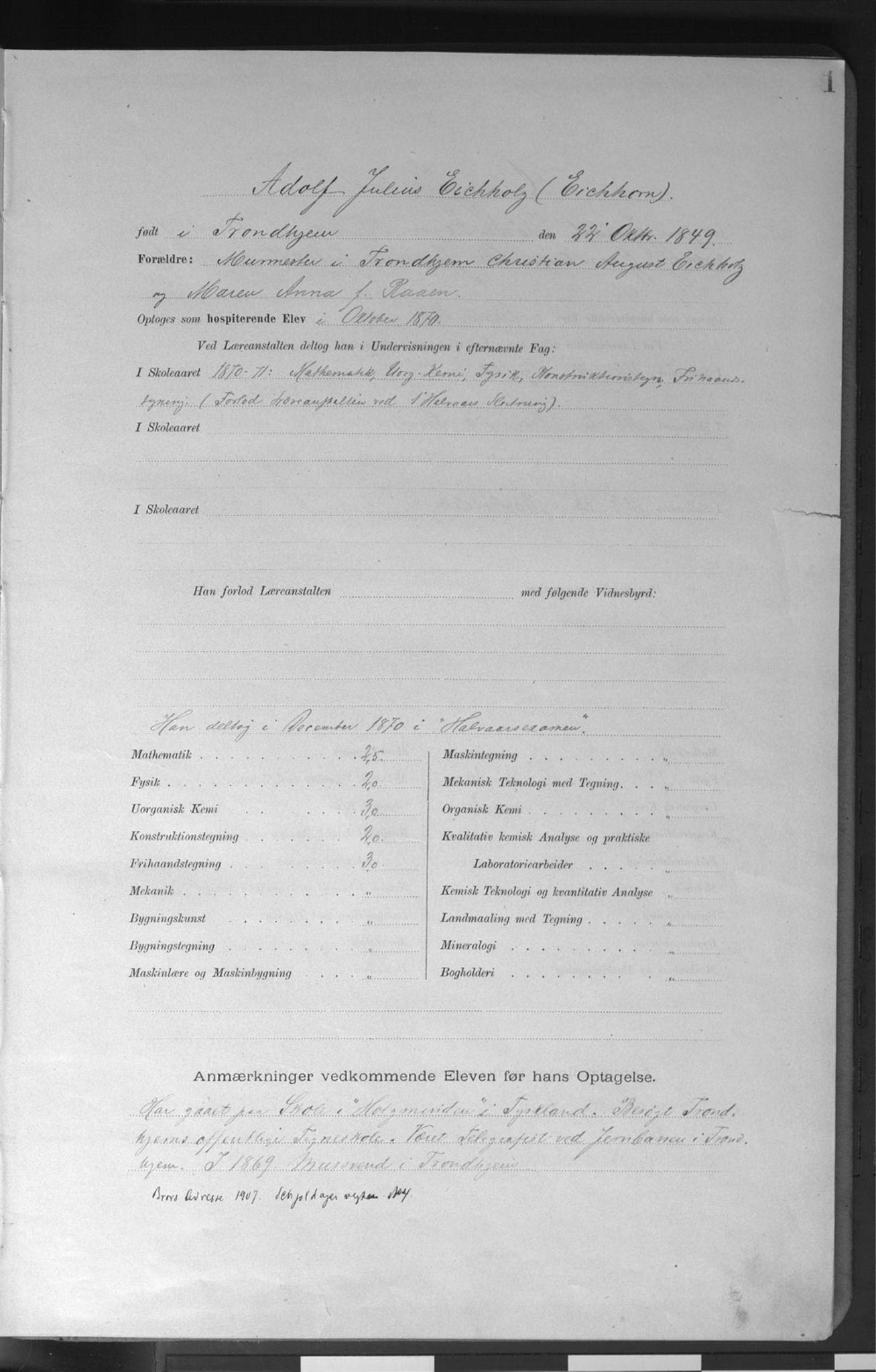 SAT, Trondhjems tekniske læreanstalt, G/Ga/L0050: Karakterprotokoll, hospiterende elever, 1870-1914