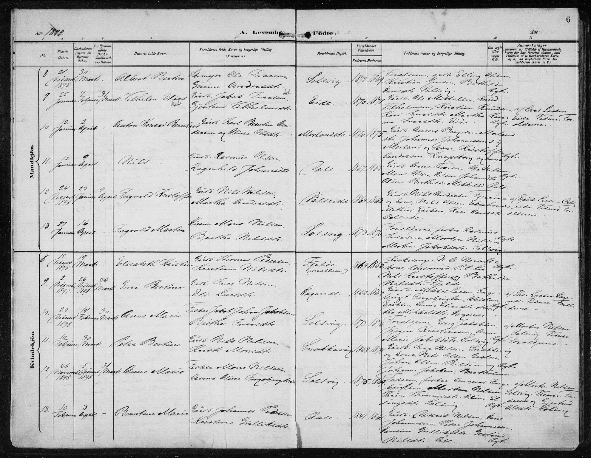 SAB, Fjell Sokneprestembete, H/Haa: Ministerialbok nr. A  9, 1899-1910, s. 6